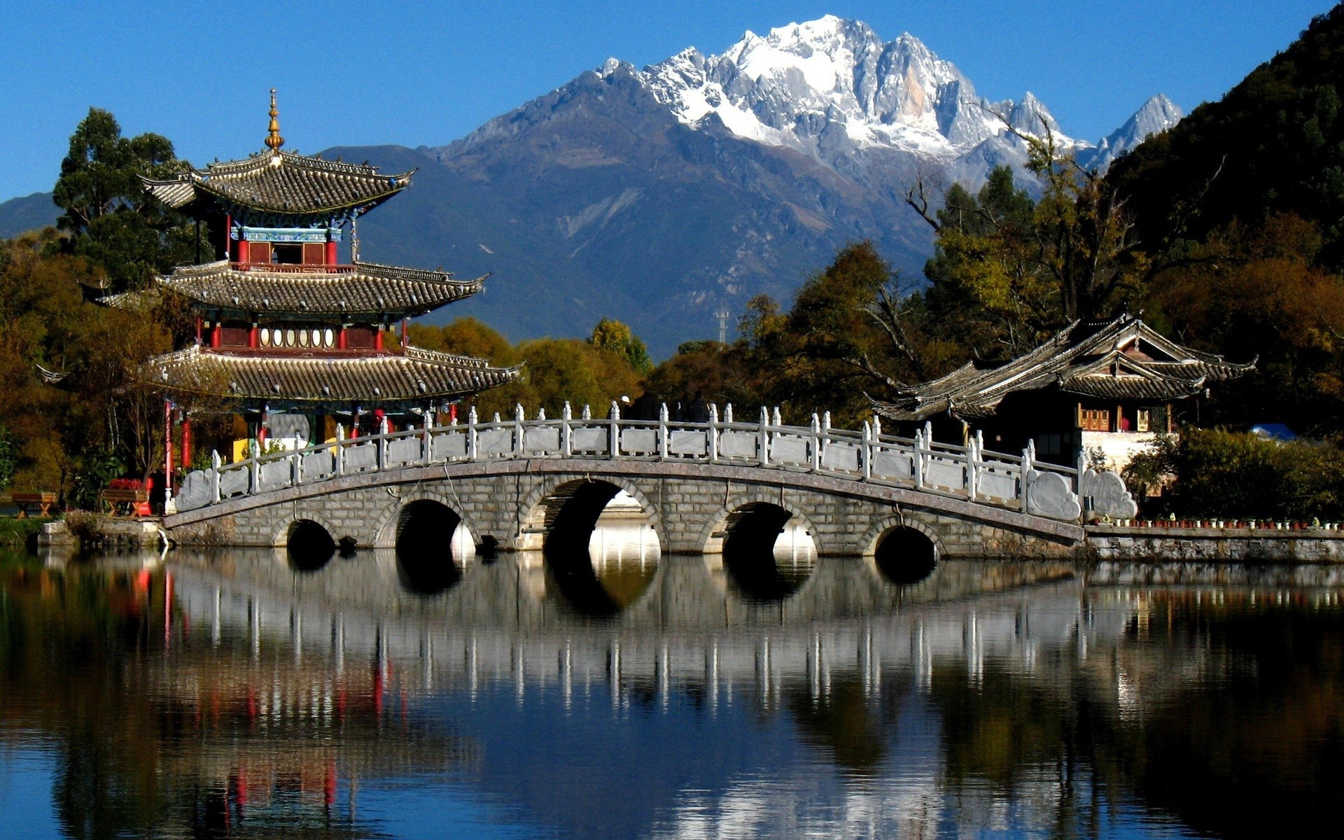 26712 download wallpaper Landscape, Rivers, Bridges, Mountains, Asia screensavers and pictures for free