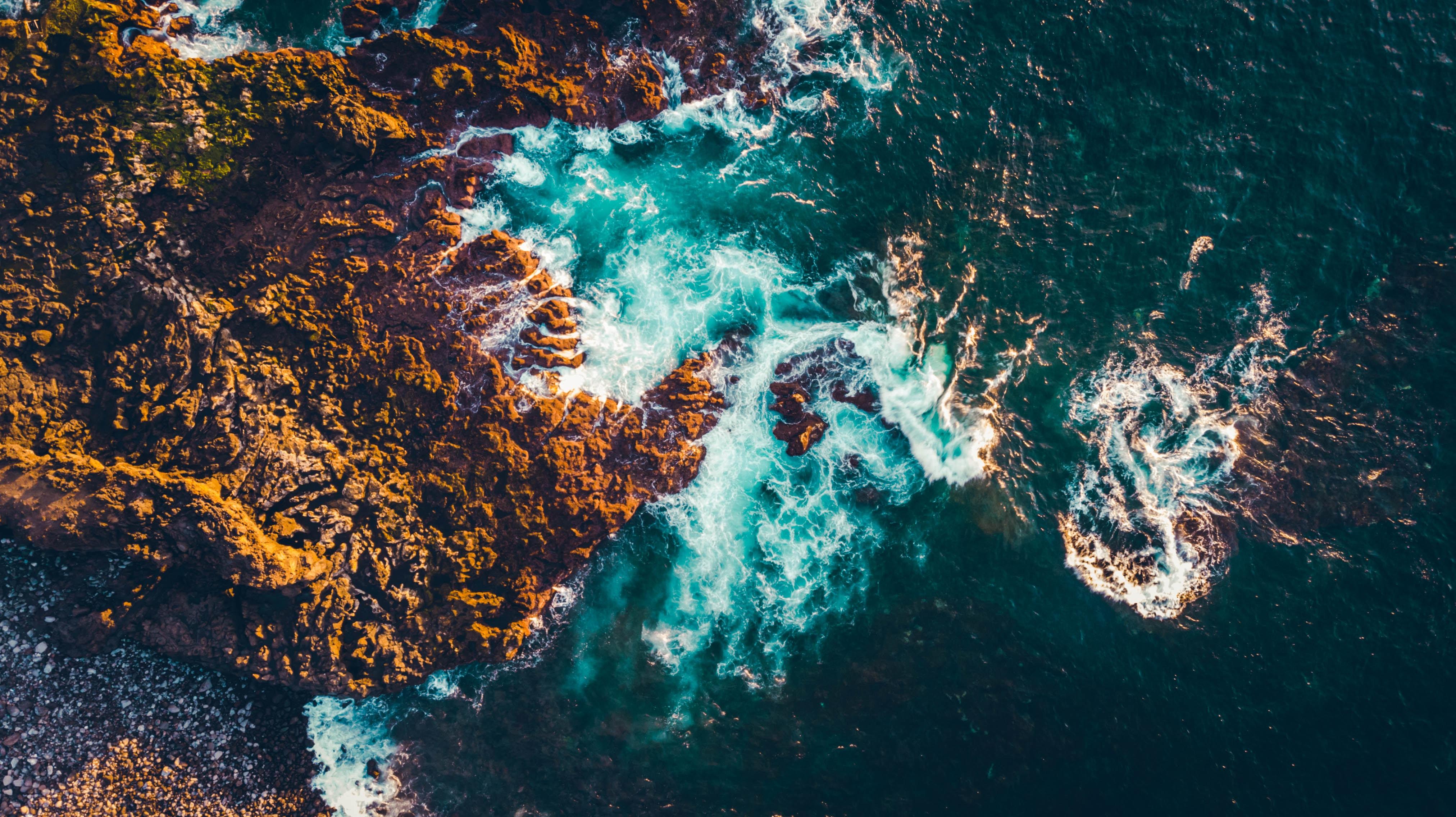 155845 免費下載壁紙 性质, 海, 石头, 岩石, 从上面看, 顶视图, 波浪 屏保和圖片