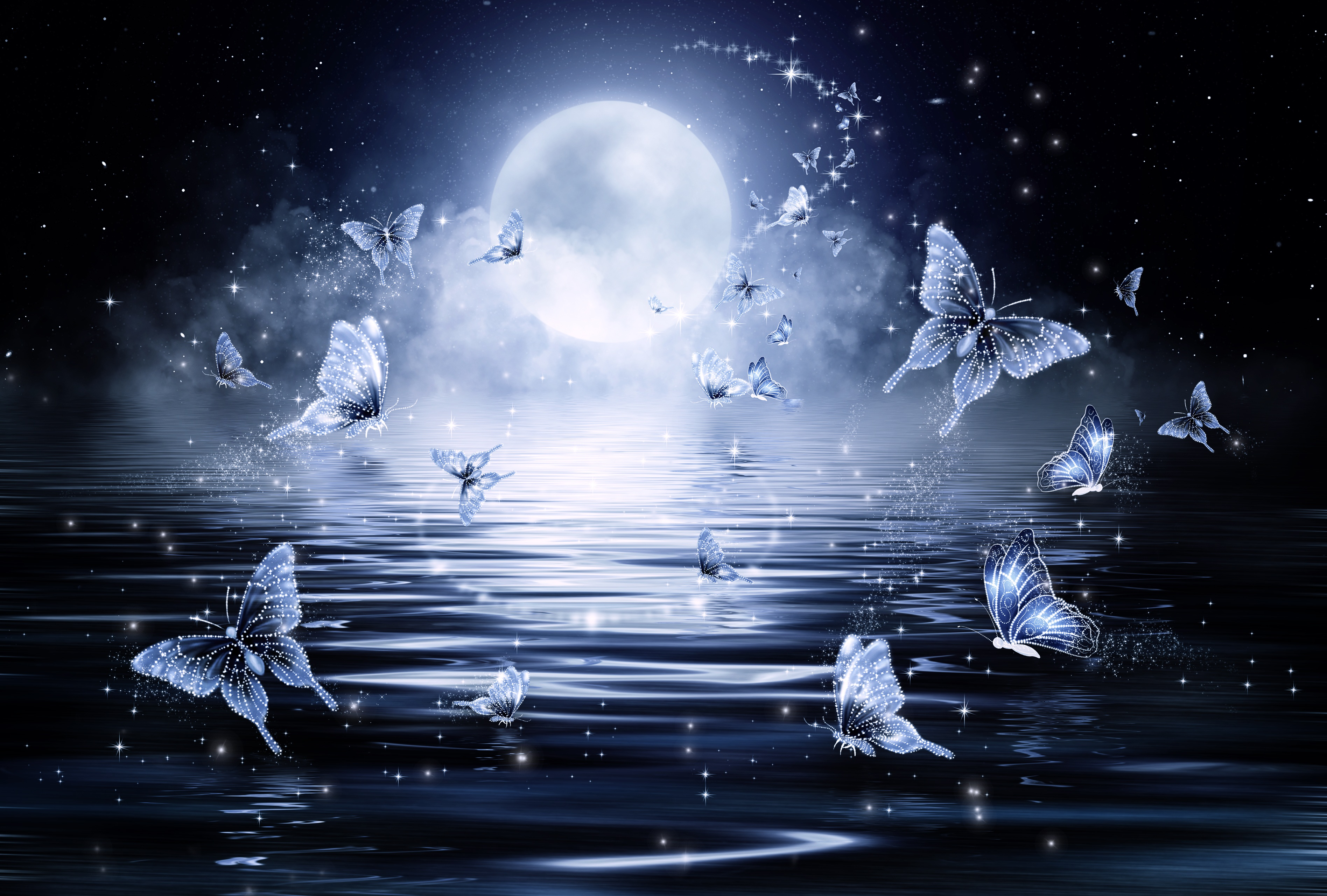 127178 download wallpaper Butterflies, Art, Stars, Moon, Shine, Brilliance screensavers and pictures for free
