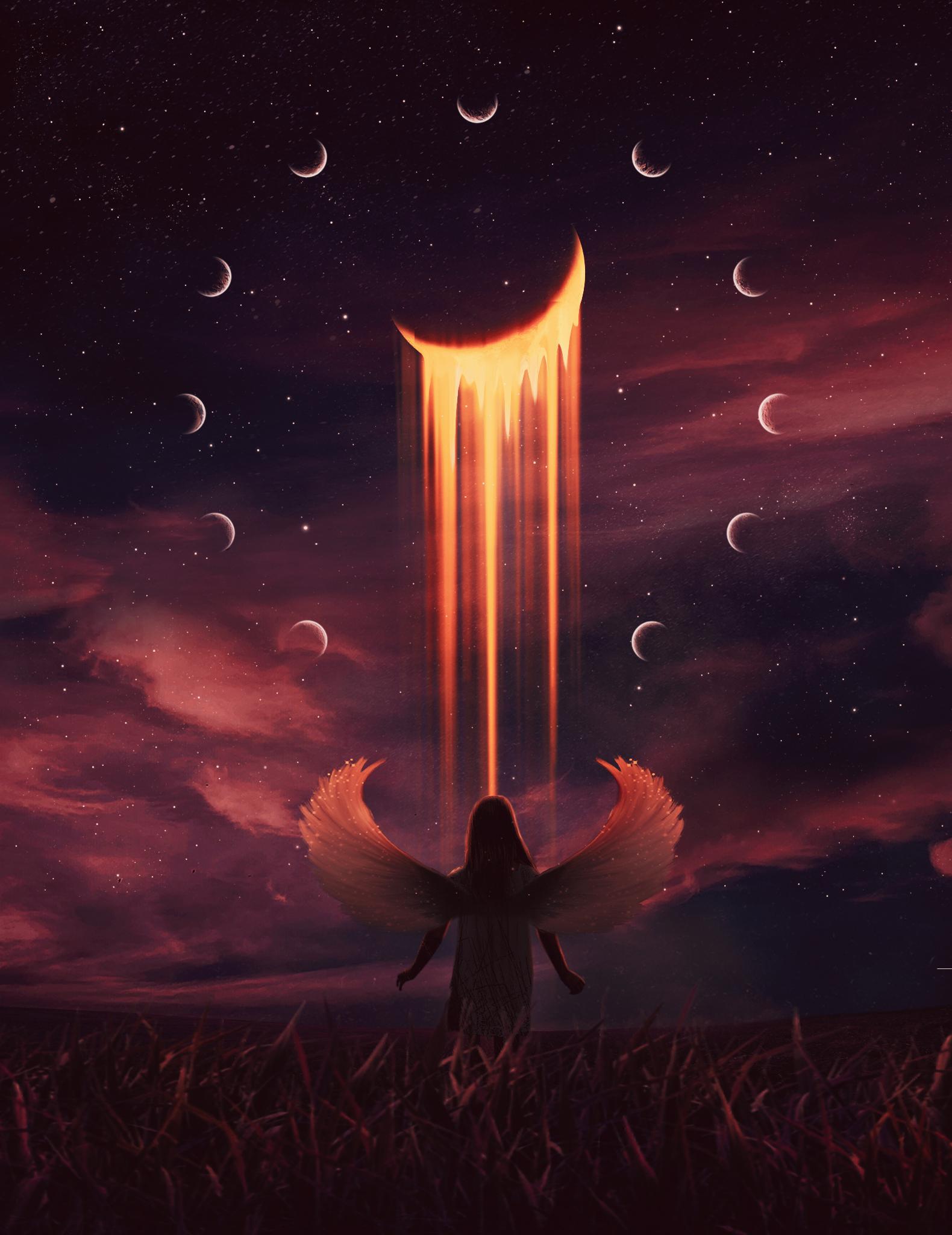 149398 Hintergrundbild herunterladen Engel, Kunst, Übernachtung, Mond, Illusion - Bildschirmschoner und Bilder kostenlos