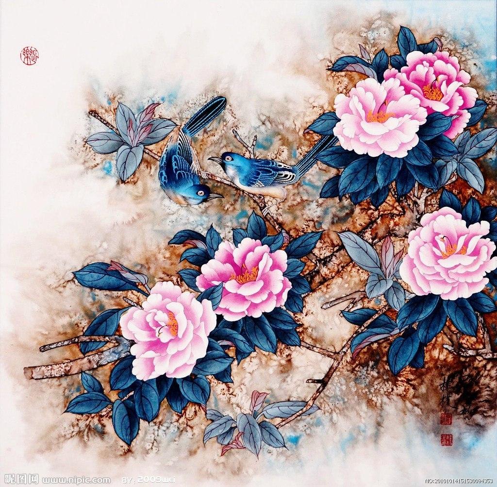 16013 скачать обои Растения, Птицы, Розы, Рисунки - заставки и картинки бесплатно