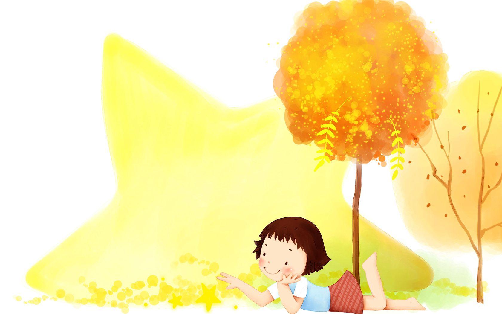 110513 скачать обои Разное, Ребенок, Девочка, Дерево, Осень, Лежать, Рисунок - заставки и картинки бесплатно