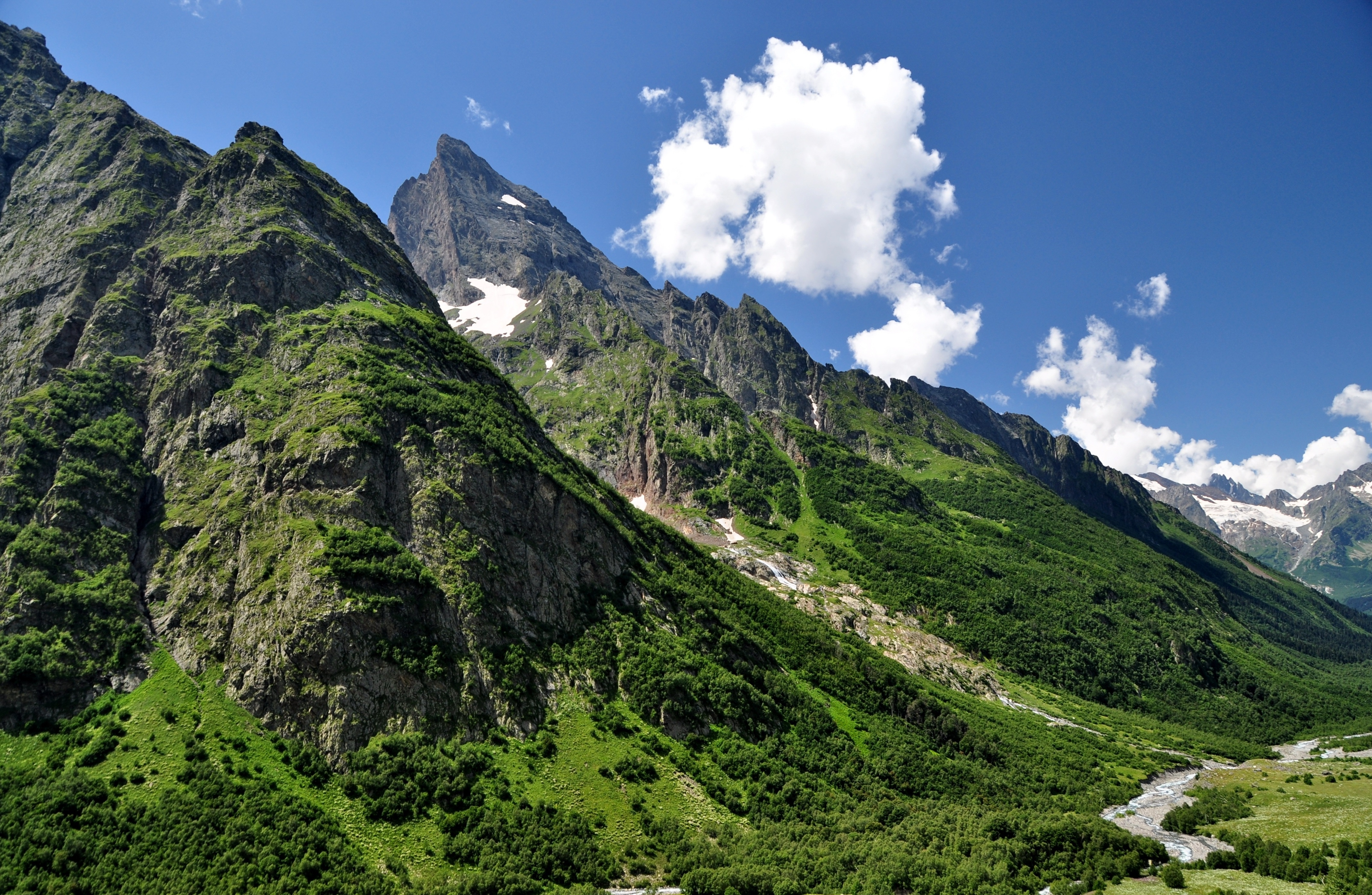 141896 download wallpaper Grass, Nature, Sky, Mountains, Caucasus screensavers and pictures for free