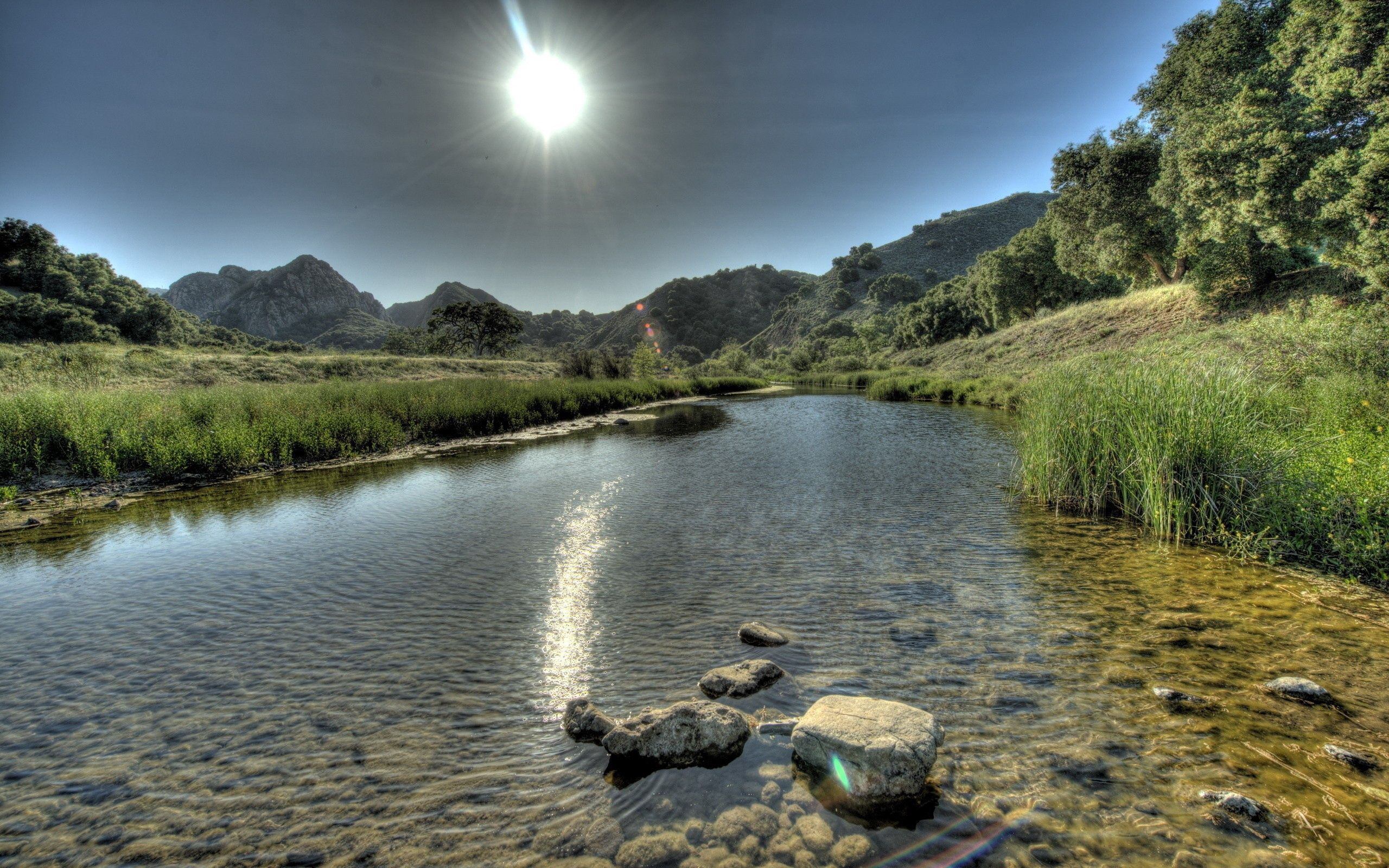 150195 download wallpaper Nature, Rivers, Stones, Grass, Sky, Mountains screensavers and pictures for free