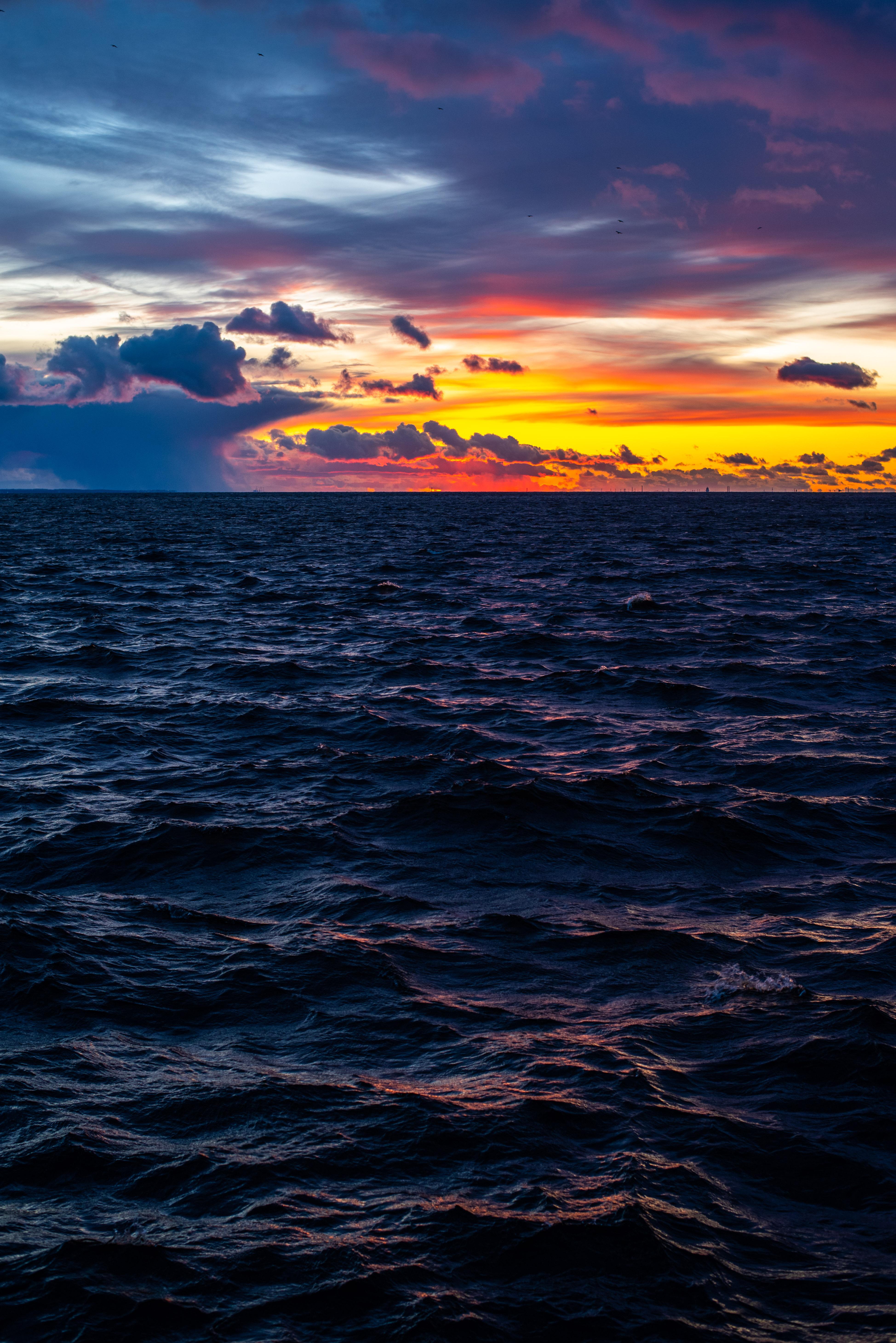 59245 Заставки и Обои Волны на телефон. Скачать Природа, Закат, Небо, Горизонт, Волны картинки бесплатно