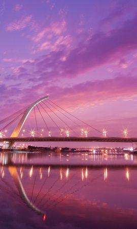 40345 скачать Фиолетовые обои на телефон бесплатно, Мосты, Архитектура Фиолетовые картинки и заставки на мобильный