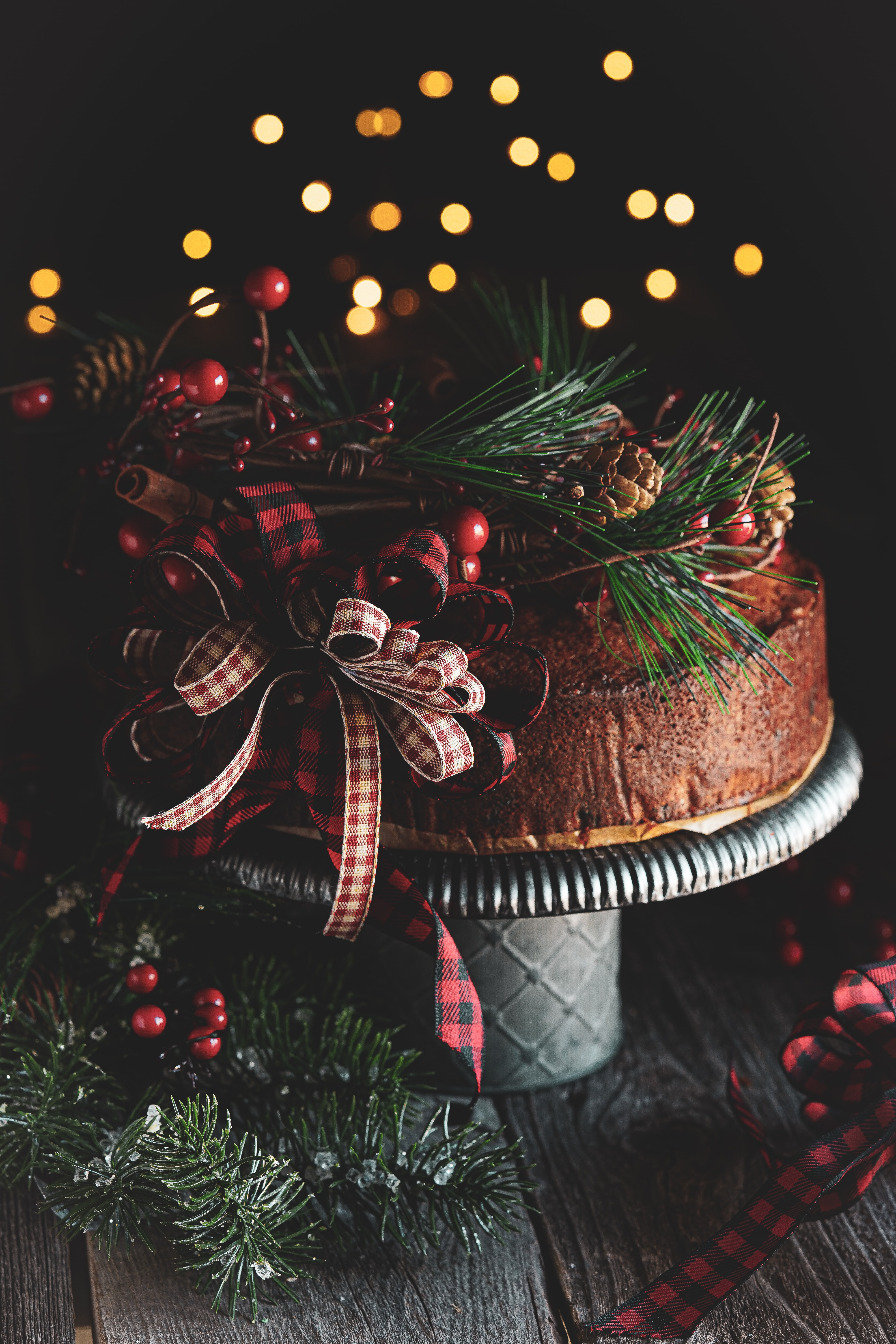 109980 Screensavers and Wallpapers Spruce for phone. Download Cake, Holidays, Cones, Decorations, Branches, Spruce, Fir, Bow pictures for free