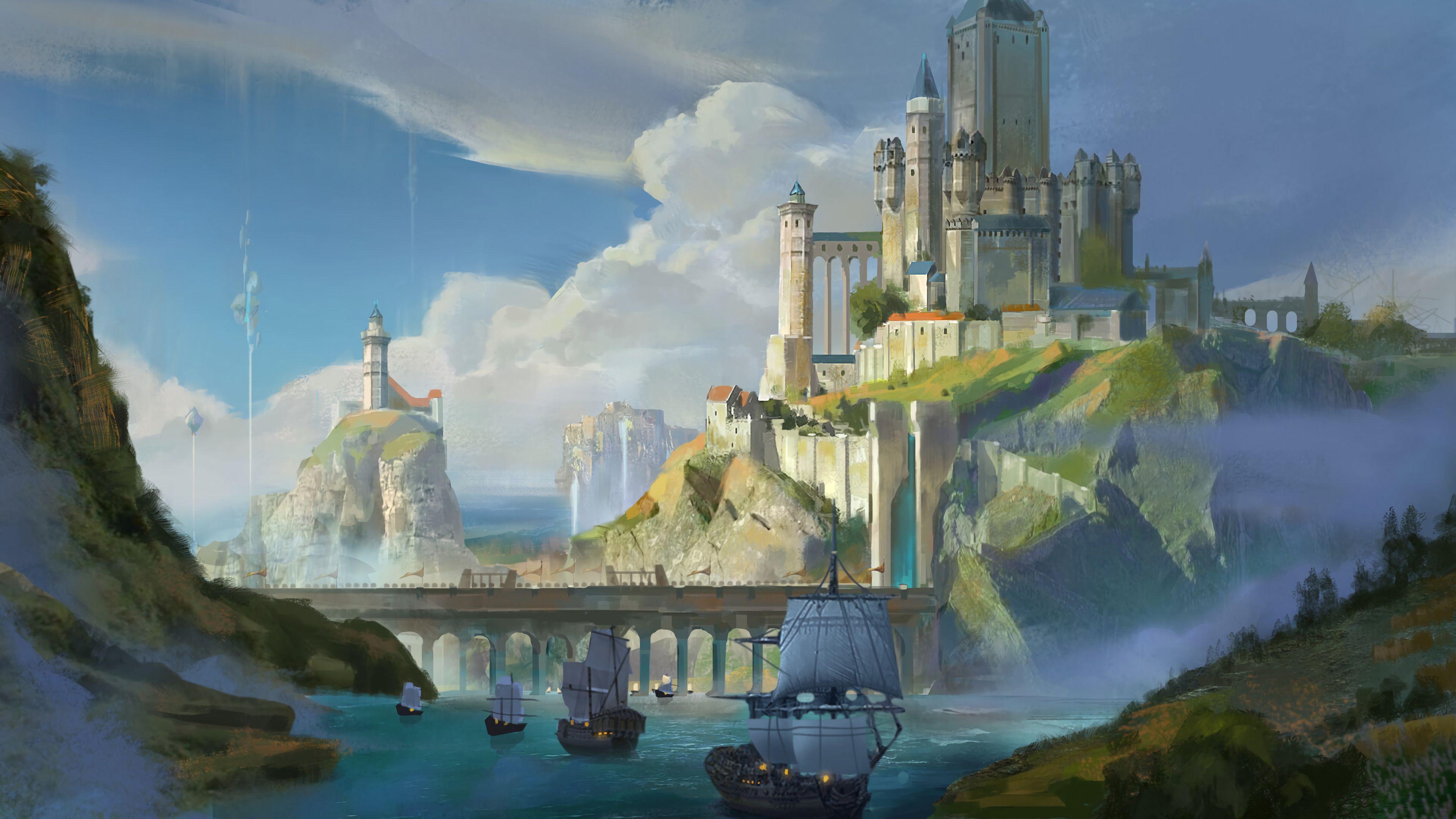 91814 download wallpaper Ships, Lock, Rocks, Bridge, Art screensavers and pictures for free