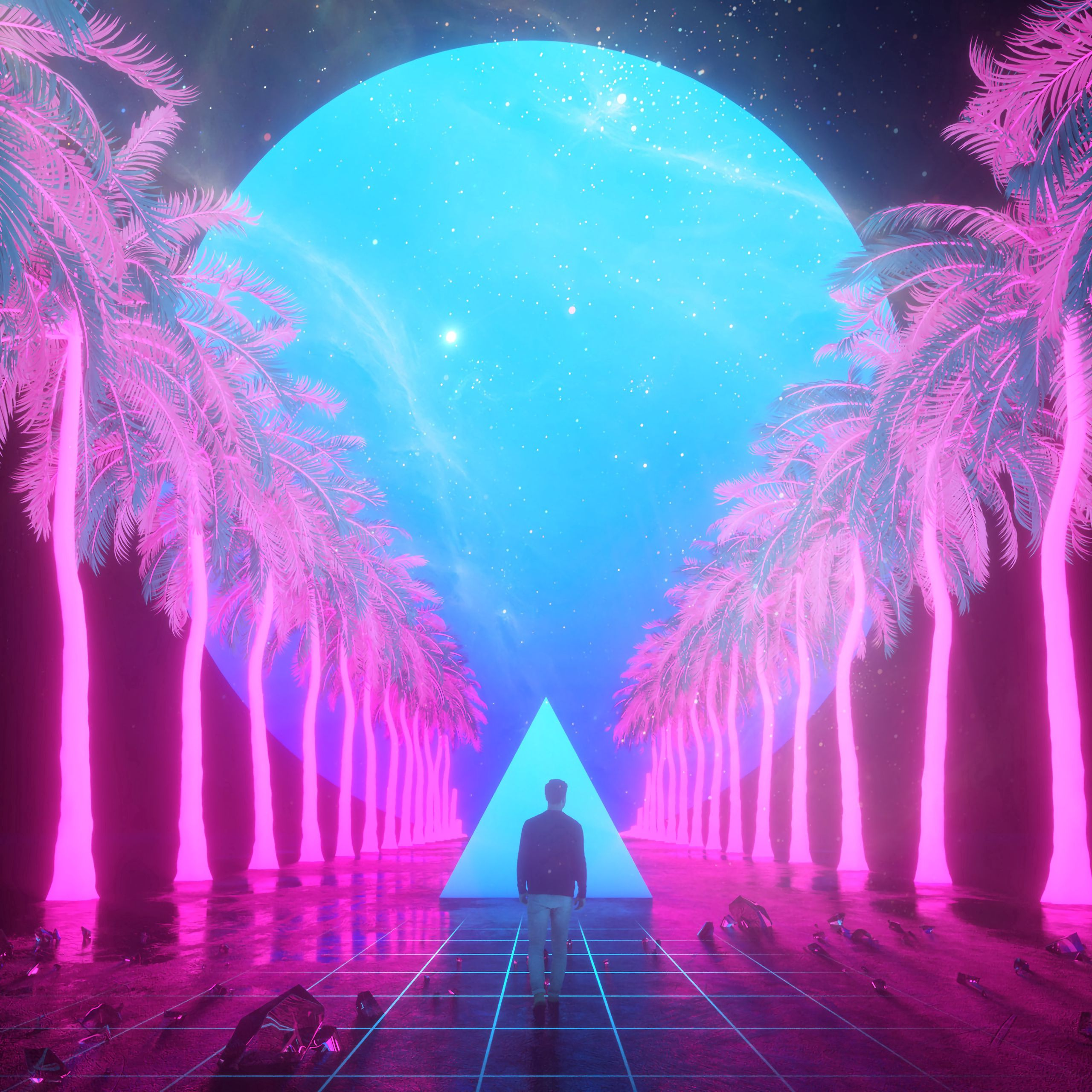 145993 download wallpaper Art, Palms, Imagination, Guy, Tile, Triangle screensavers and pictures for free