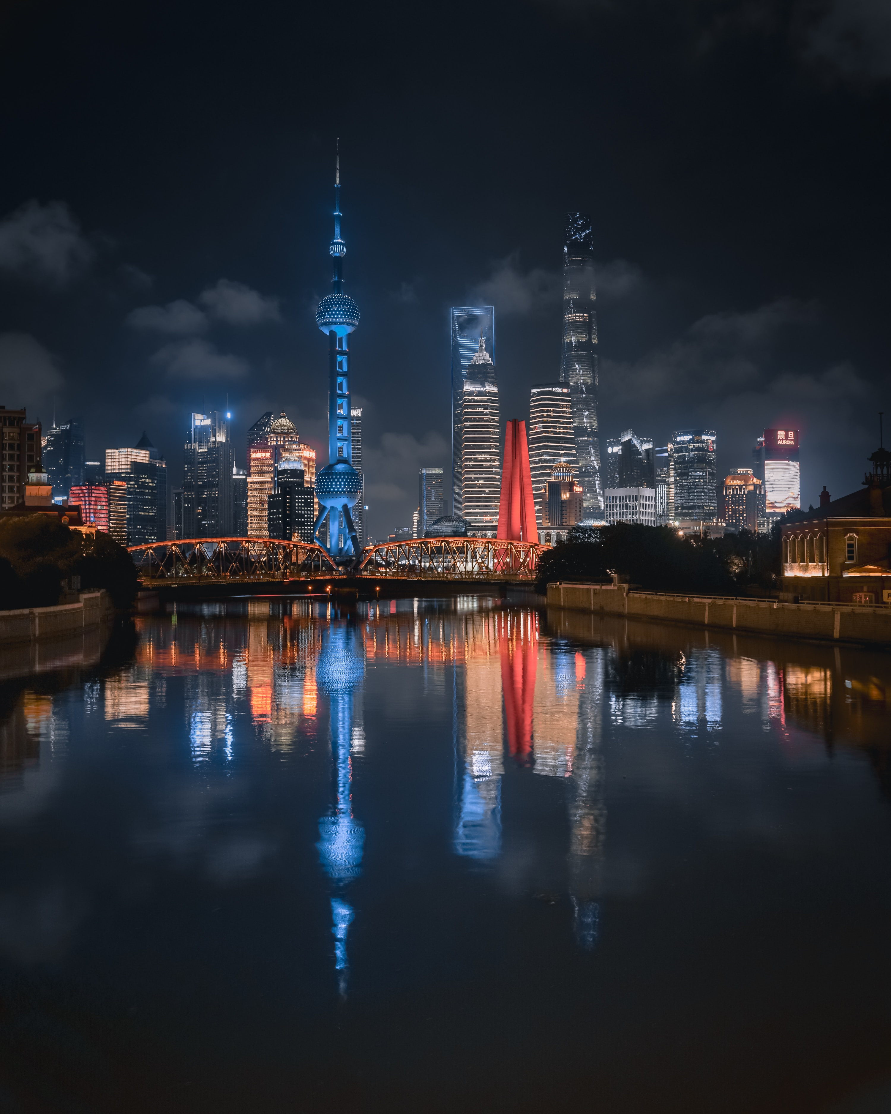 56175 Screensavers and Wallpapers Cities for phone. Download Cities, Rivers, Building, Lights, Reflection, Night City pictures for free
