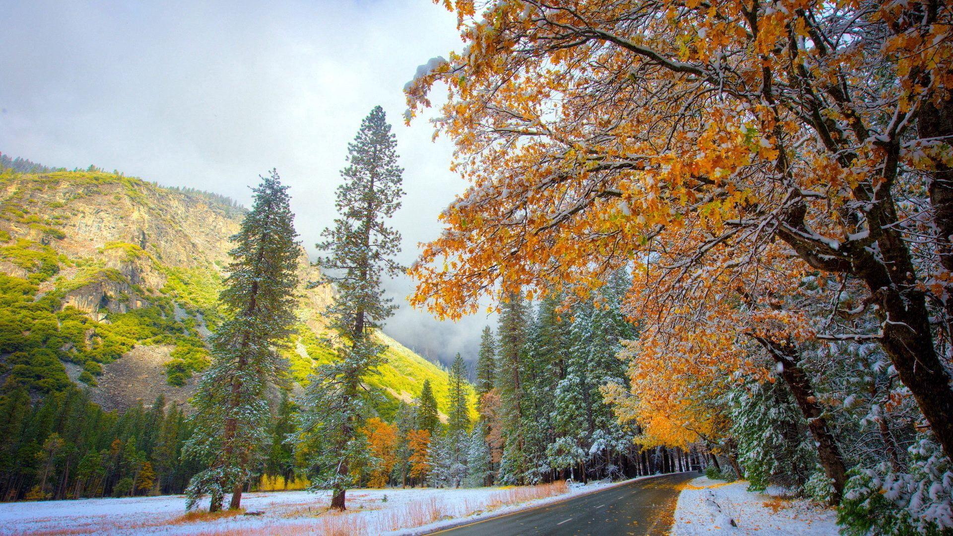 72761 скачать обои Зима, Осень, Природа, Горы, Снег, Дорога - заставки и картинки бесплатно