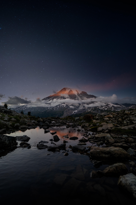 123885 Заставки и Обои Озеро на телефон. Скачать Озеро, Природа, Камни, Снег, Заснеженный, Вулкан картинки бесплатно