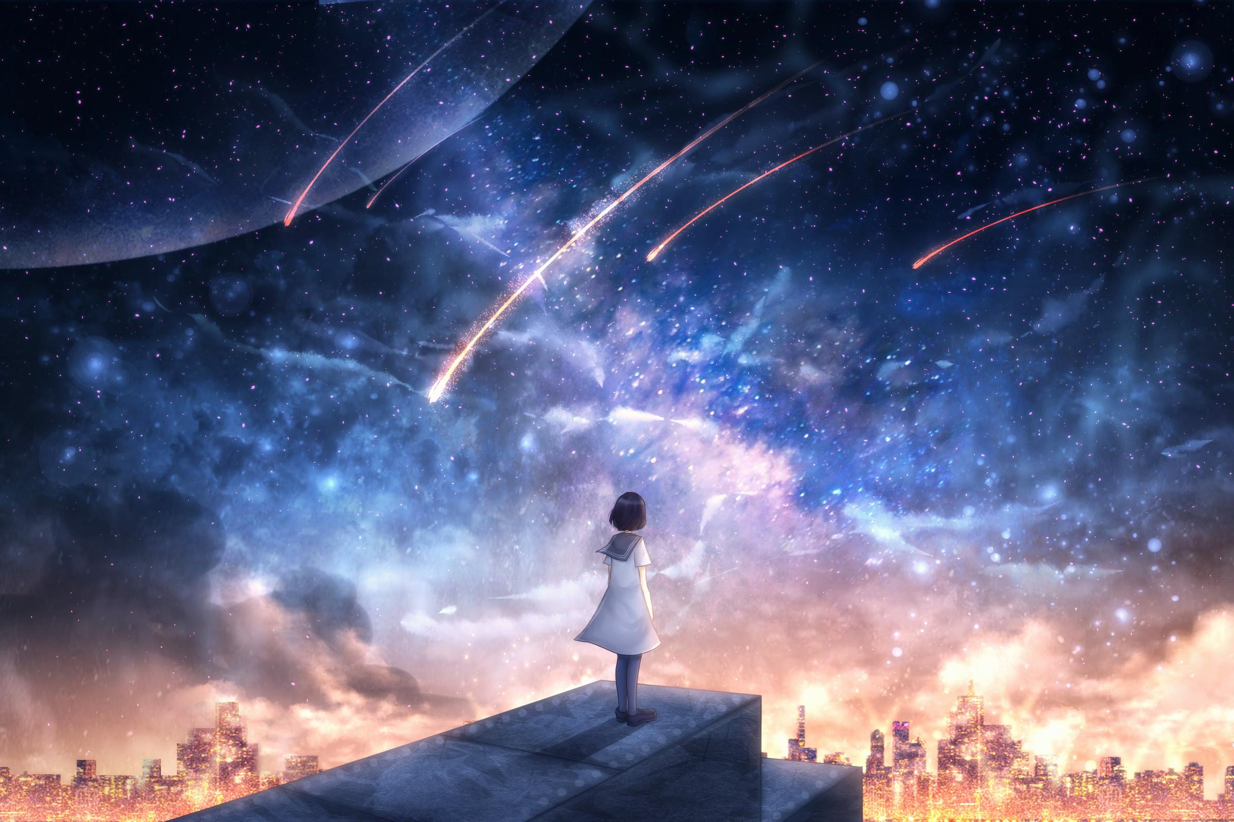 152827 скачать обои Арт, Девушка, Звездопад, Космос - заставки и картинки бесплатно