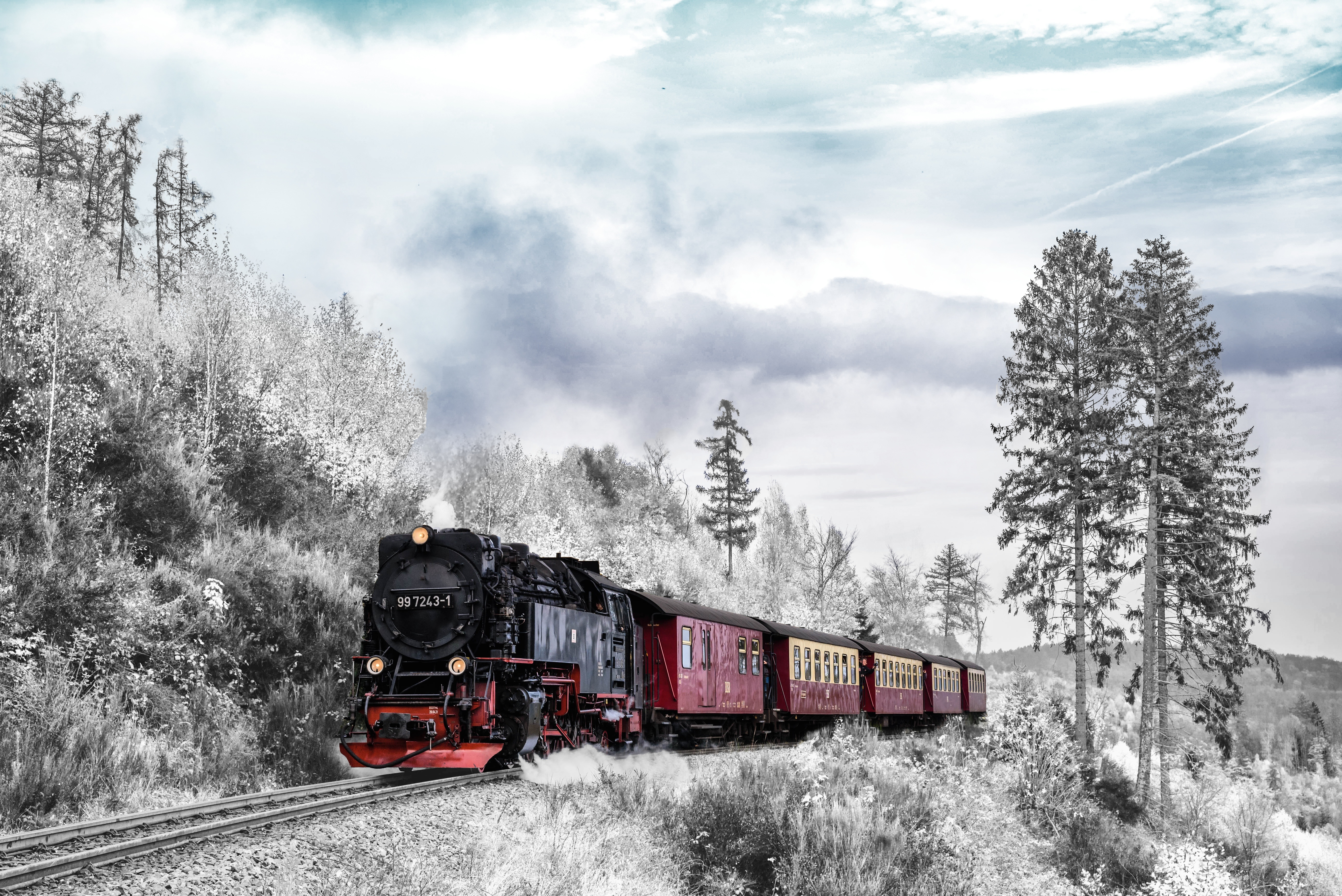 134324 download wallpaper Miscellanea, Miscellaneous, Train, Forest, Winter, Railway, Snow screensavers and pictures for free