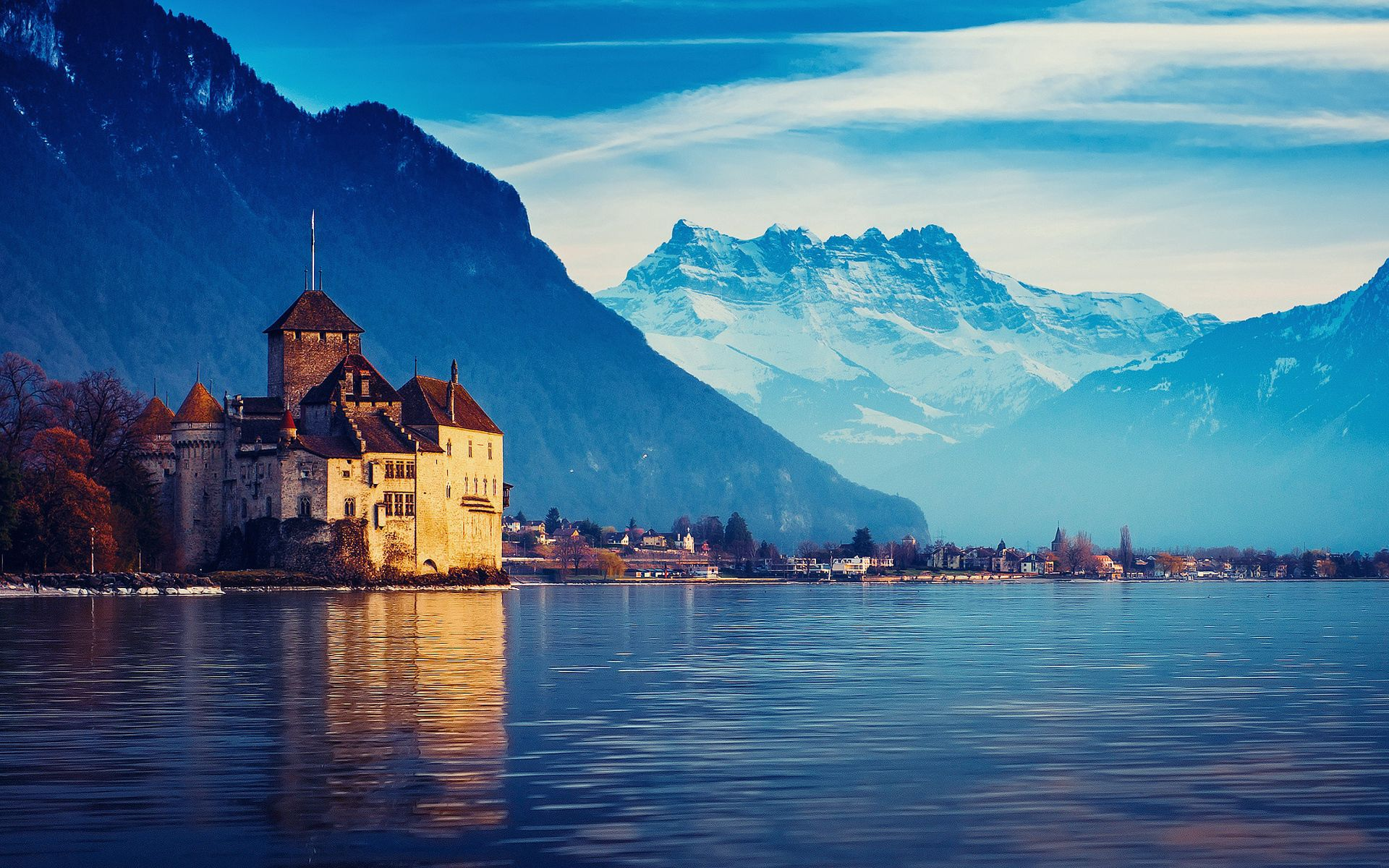120123 скачать обои Швейцария, Города, Горы, Снег, Город, Женевское Озеро - заставки и картинки бесплатно