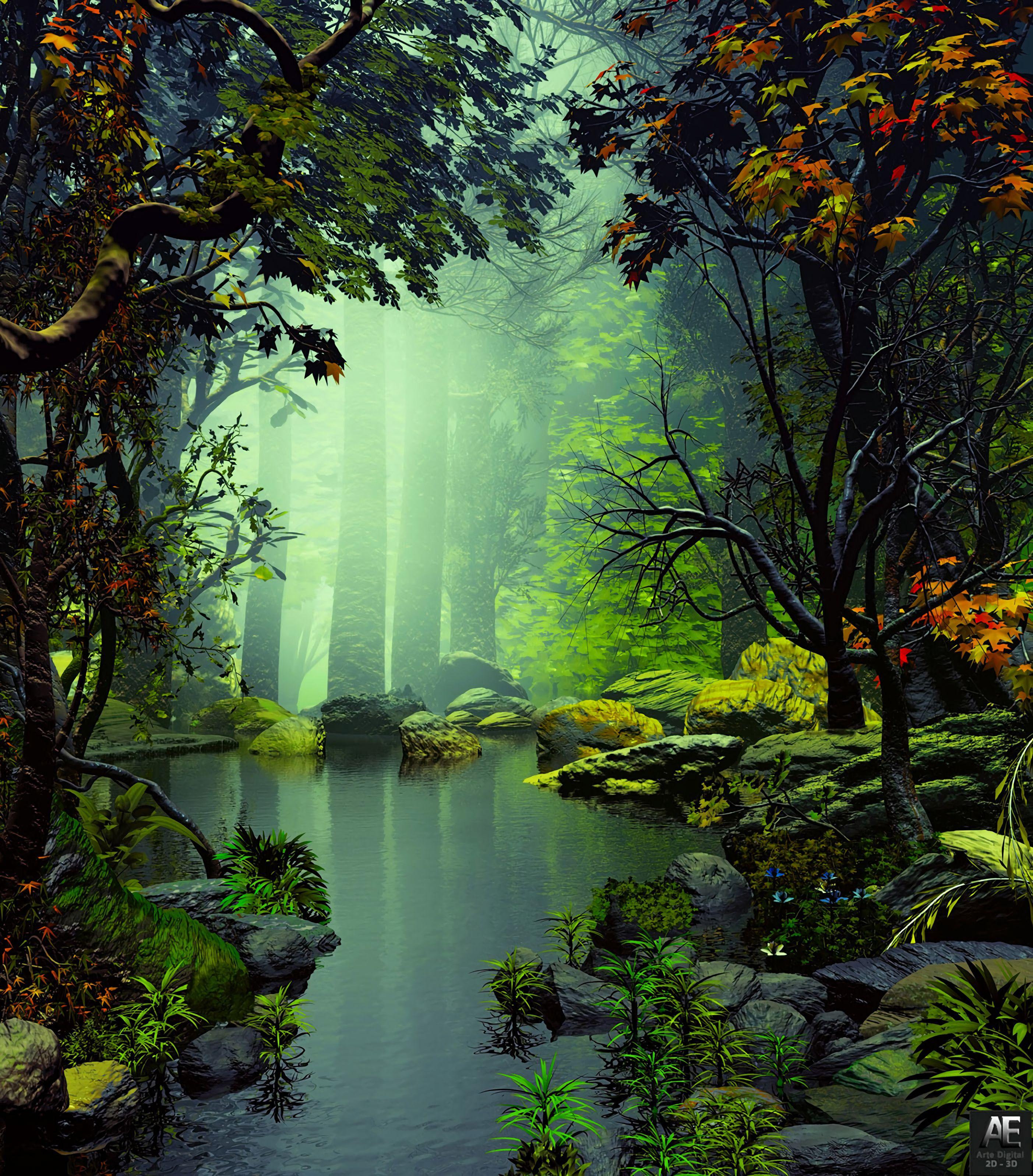 86374 скачать обои Деревья, Арт, Туман, Камни, Озеро - заставки и картинки бесплатно