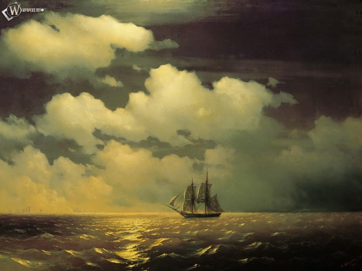 11013 скачать обои Транспорт, Небо, Корабли, Море, Облака, Рисунки - заставки и картинки бесплатно