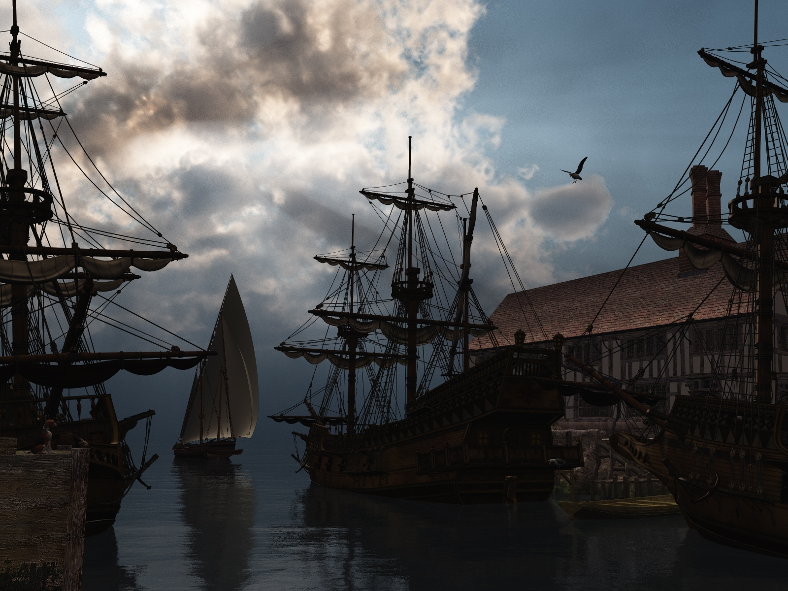 778 download wallpaper Landscape, Sky, Art, Ships, Sea screensavers and pictures for free