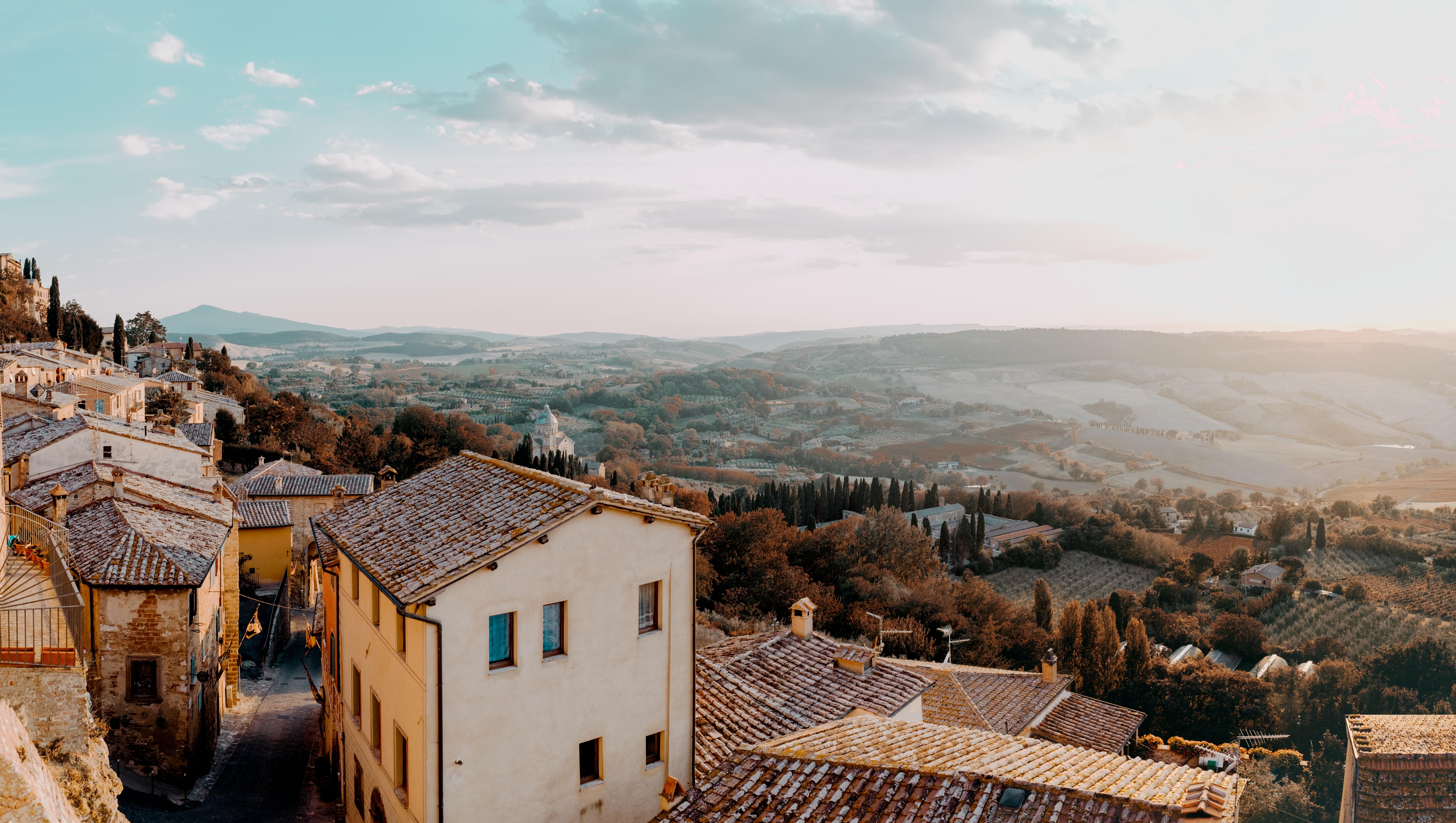 128229 скачать обои Италия, Пейзаж, Природа, Архитектура, Вид Сверху, Коммуна, Монтоне - заставки и картинки бесплатно
