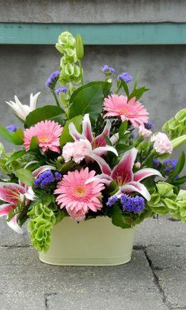 157636 скачать обои Цветы, Лилии, Гвоздики, Композиция, Оформление, Герберы - заставки и картинки бесплатно