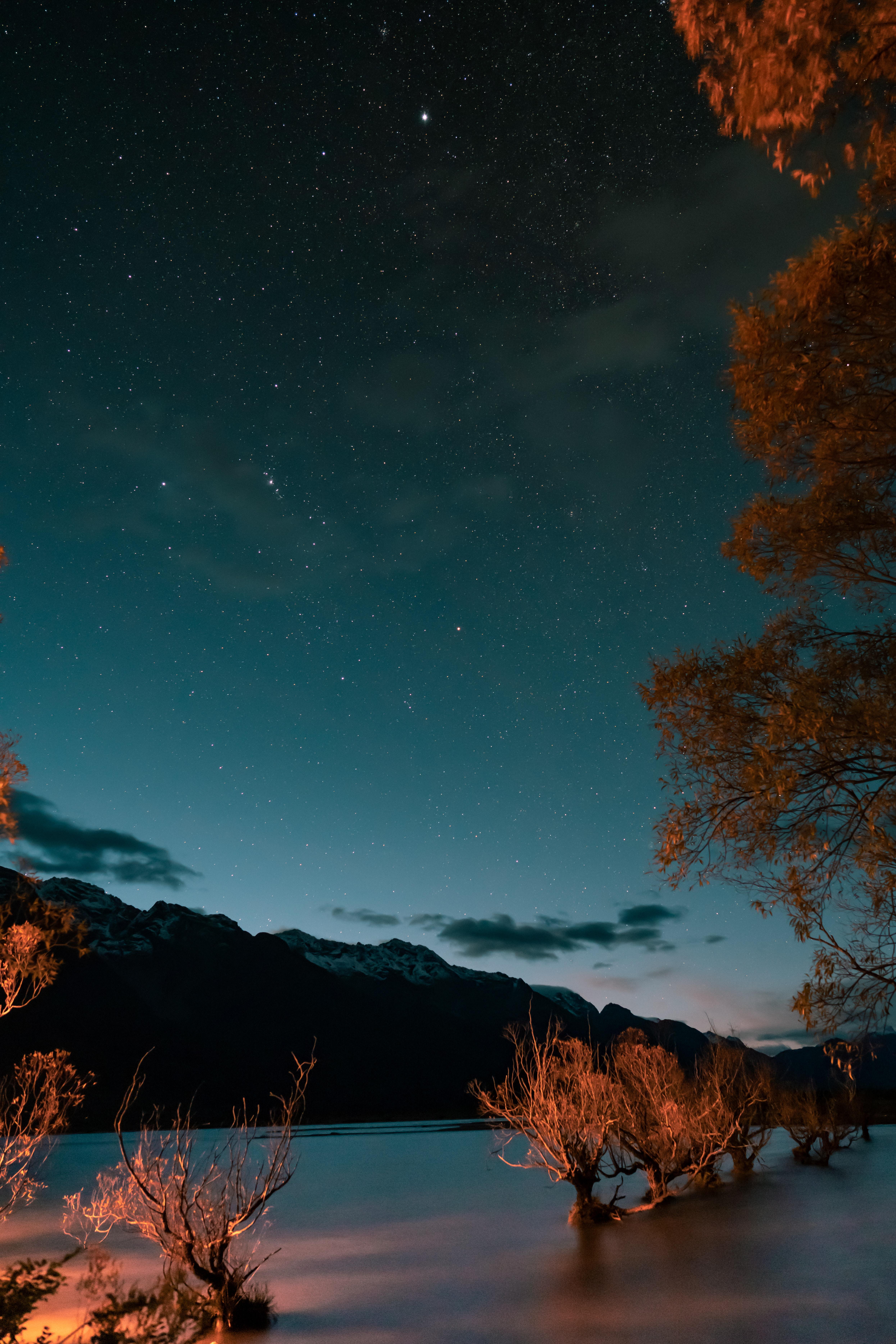108964 Заставки и Обои Озеро на телефон. Скачать Озеро, Сумерки, Природа, Деревья, Горы, Звездное Небо картинки бесплатно