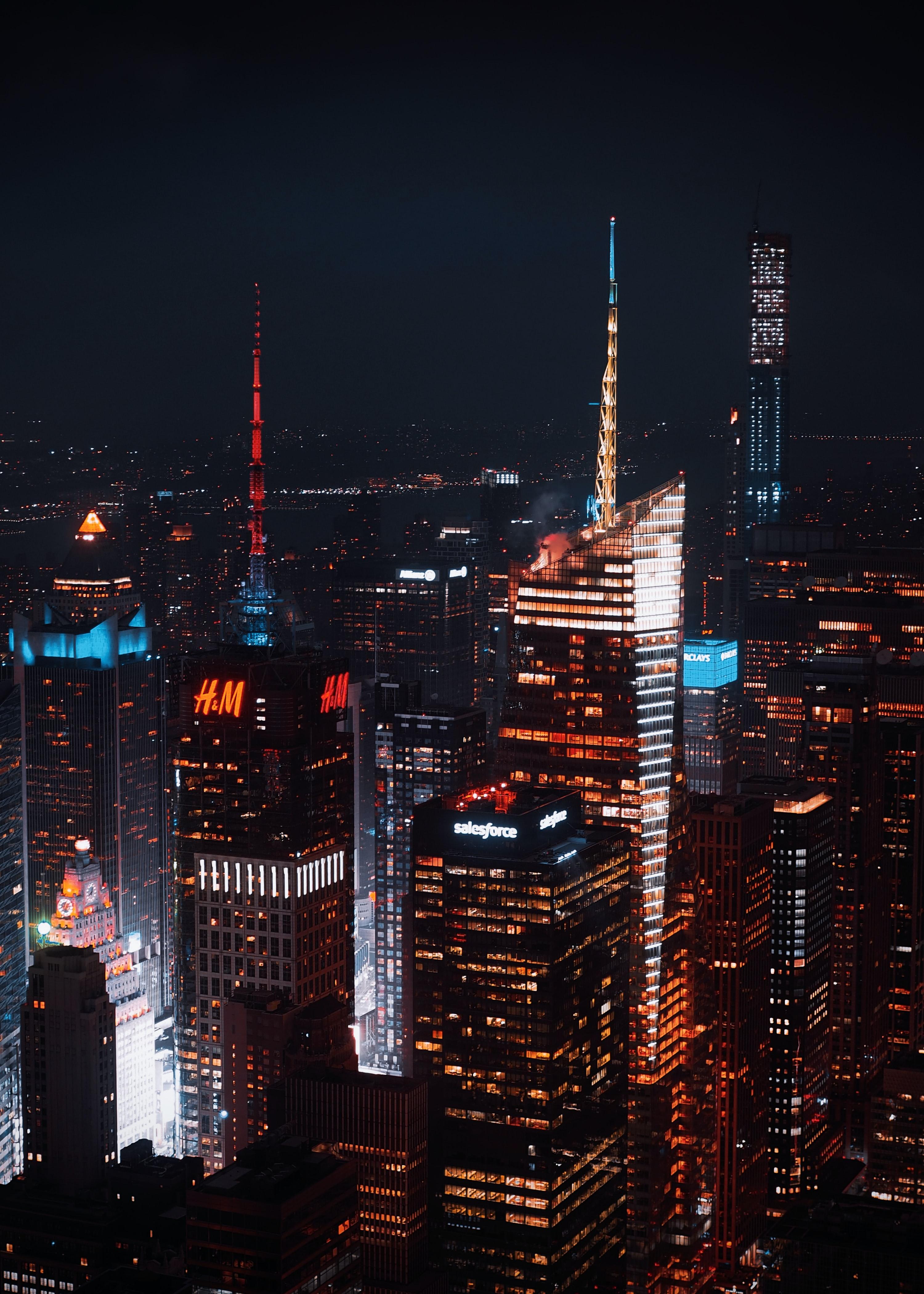 154470 скачать обои Здания, Небоскребы, Вид Сверху, Город, Ночь, Архитектура, Города - заставки и картинки бесплатно