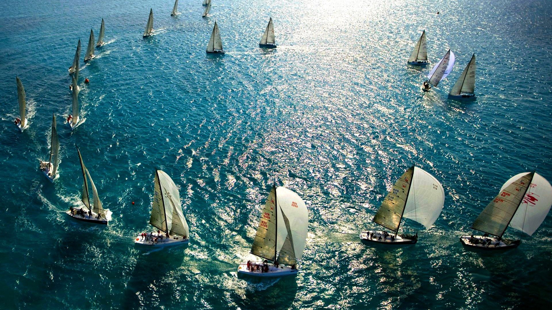 132234 download wallpaper Miscellanea, Miscellaneous, Sail, Sea, Swimming, Lot screensavers and pictures for free