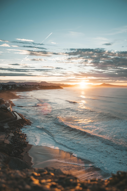 63567 скачать обои Пейзаж, Закат, Море, Природа, Пляж, Побережье - заставки и картинки бесплатно