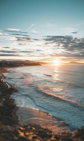 63567 скачать обои Природа, Закат, Море, Пляж, Побережье, Пейзаж - заставки и картинки бесплатно