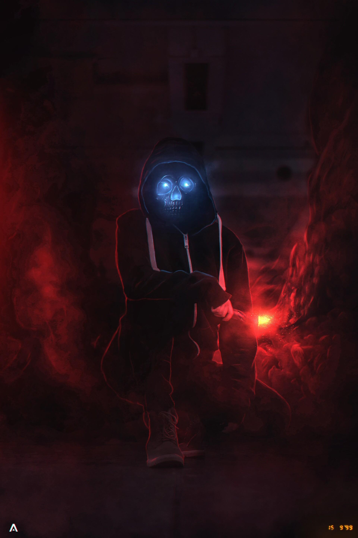免費壁紙63414:黑暗的, 黑暗, 恶魔, 颅骨, 骷髅, 兜帽, 头罩, 辉光, 发光 下載手機圖片