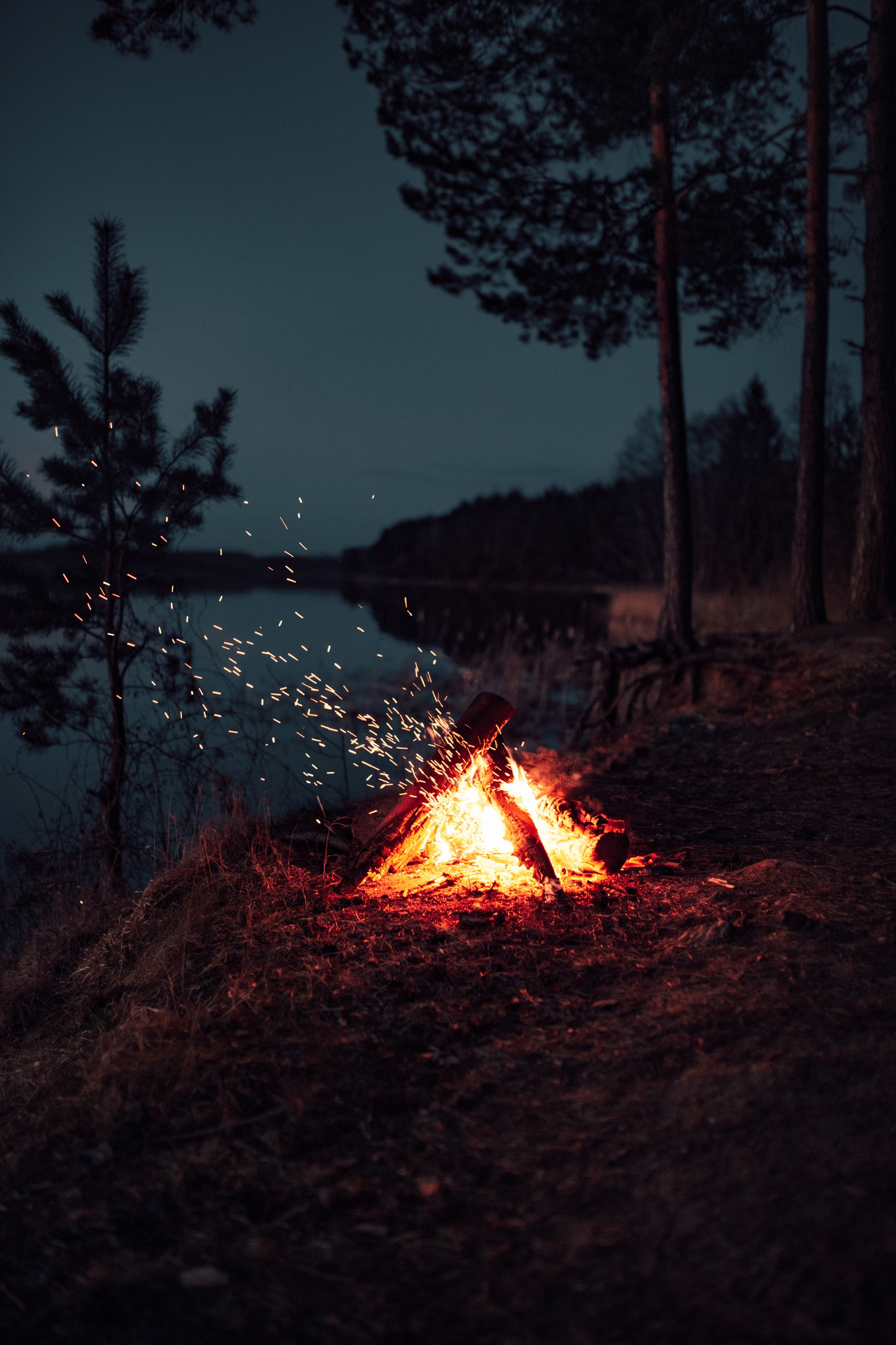 131890 Screensavers and Wallpapers Bonfire for phone. Download Dark, Bonfire, Night, Sparks, Camping, Campsite pictures for free