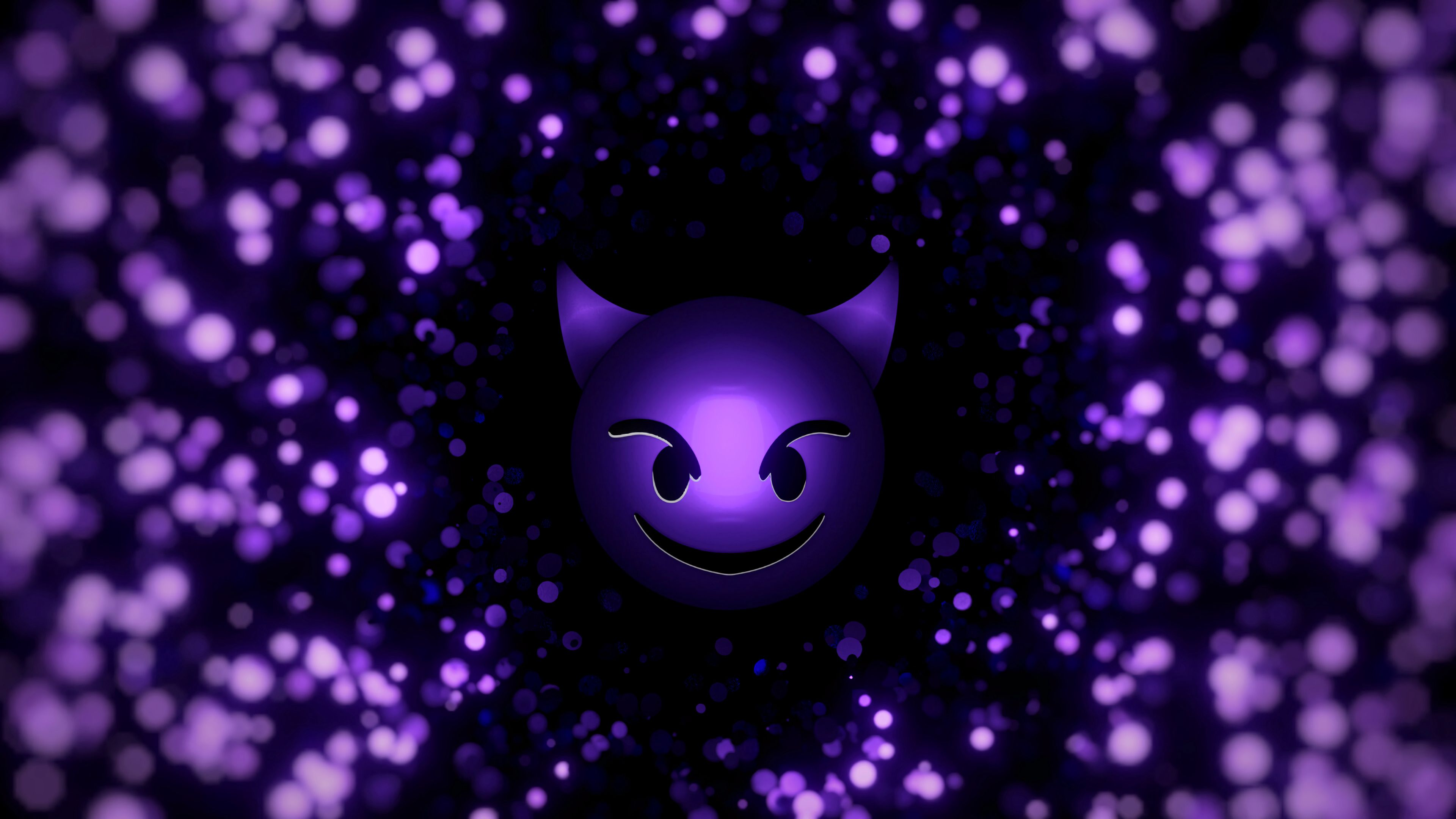 58108 Screensavers and Wallpapers Smile for phone. Download Smiley, Smile, Art, Violet, Purple, Particles, Emoticon, Devil pictures for free