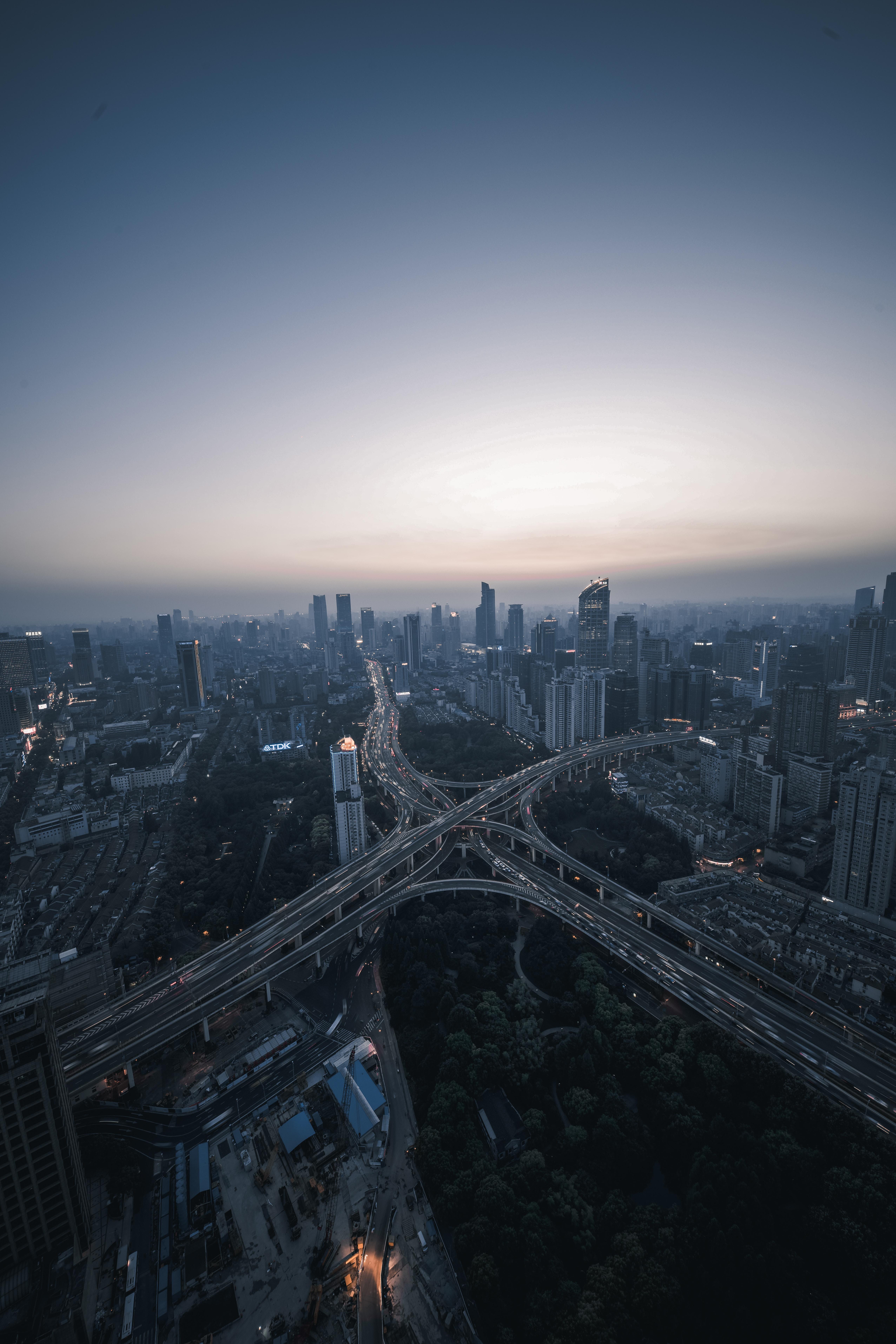 74313 Hintergrundbild herunterladen Städte, Roads, Blick Von Oben, Nächtliche Stadt, Night City, Megapolis, Megalopolis - Bildschirmschoner und Bilder kostenlos