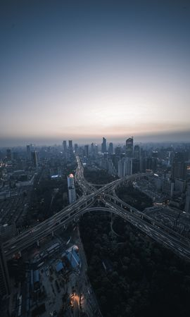 74313 Screensavers and Wallpapers Roads for phone. Download Night City, View From Above, Roads, Megapolis, Megalopolis, Cities pictures for free
