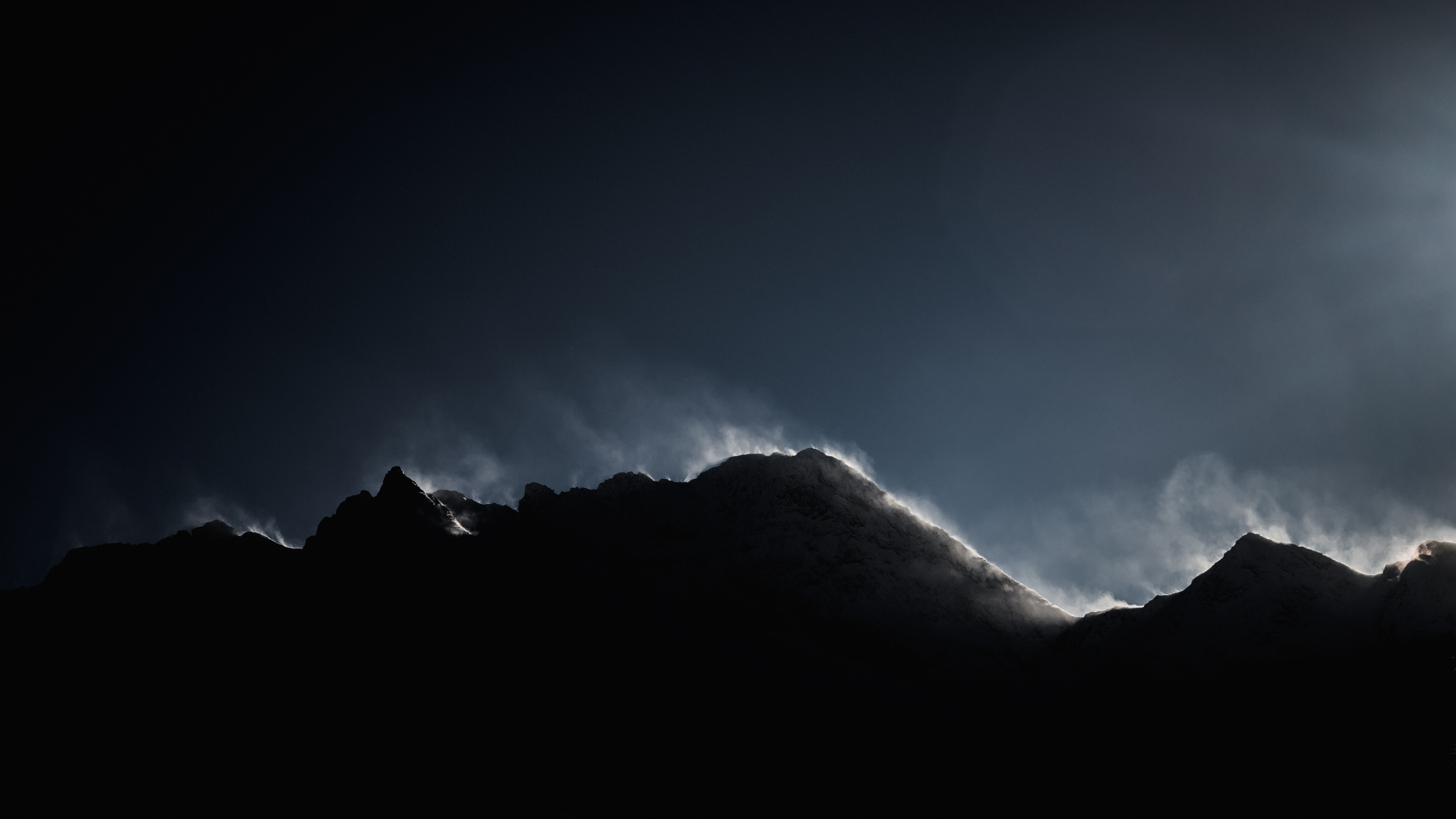54010 download wallpaper Dark, Nature, Mountains, Vertex, Top, Fog, Shadow, Enveloping screensavers and pictures for free