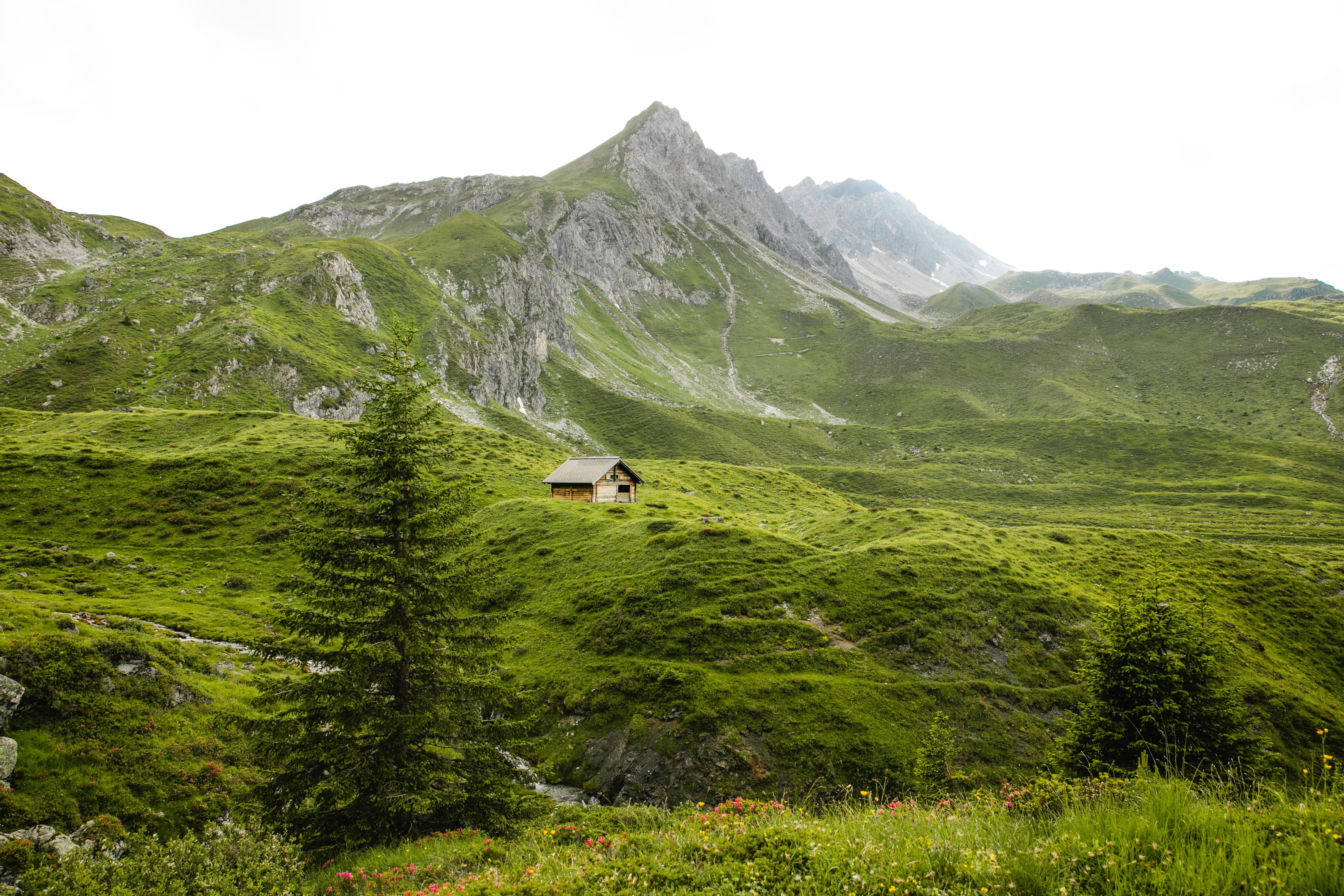 99099 Screensavers and Wallpapers Small House for phone. Download Nature, Mountains, Greens, Small House, Lodge, Hills pictures for free
