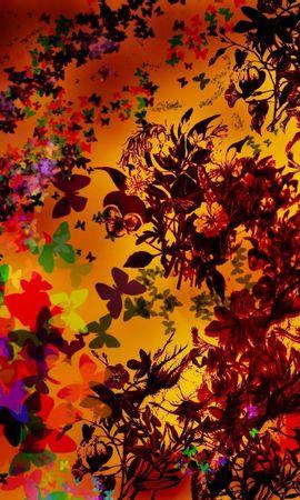 82653 descargar fondo de pantalla Abstracción, Hojas, Mariposas, Creativo, Otoño, Estado Animico, Humor, Flores: protectores de pantalla e imágenes gratis
