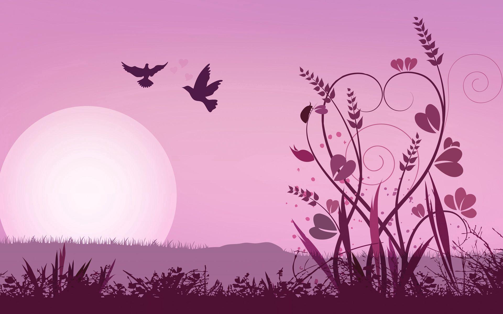90325 скачать обои Вектор, Розовый, Трава, Абстракция, Солнце, Птицы - заставки и картинки бесплатно