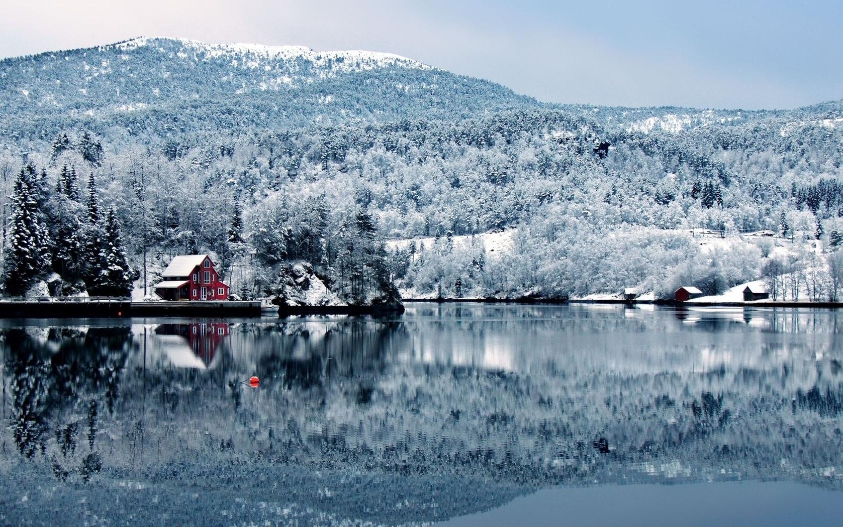 23460 скачать обои Пейзаж, Зима, Река, Деревья, Горы - заставки и картинки бесплатно