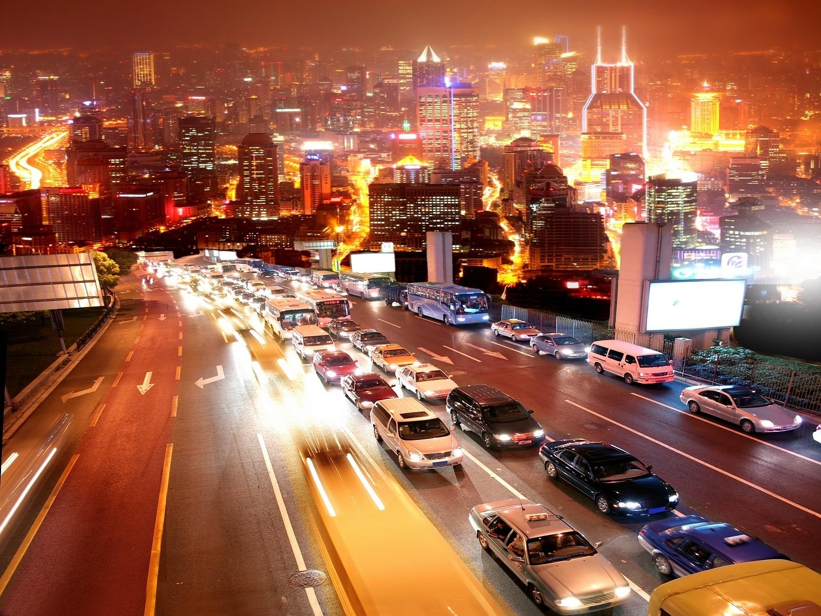 6848 скачать обои Пейзаж, Города, Машины, Дороги, Улицы, Ночь - заставки и картинки бесплатно