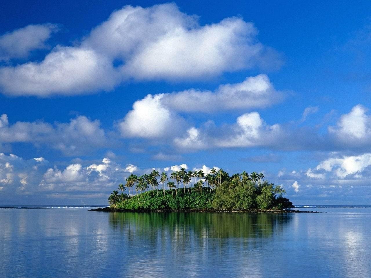 25150 скачать обои Пейзаж, Небо, Море, Облака, Пальмы - заставки и картинки бесплатно