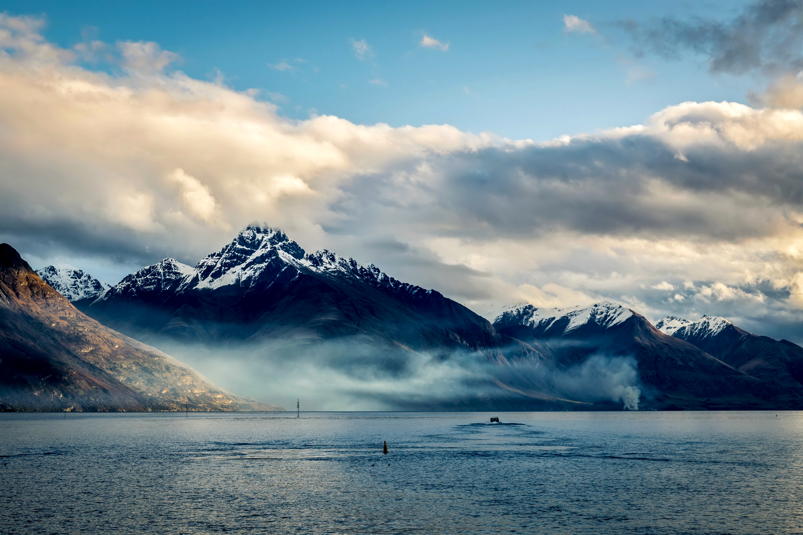 147230 download wallpaper Nature, New Zealand, Sea, Sky, Clouds, Mountains screensavers and pictures for free