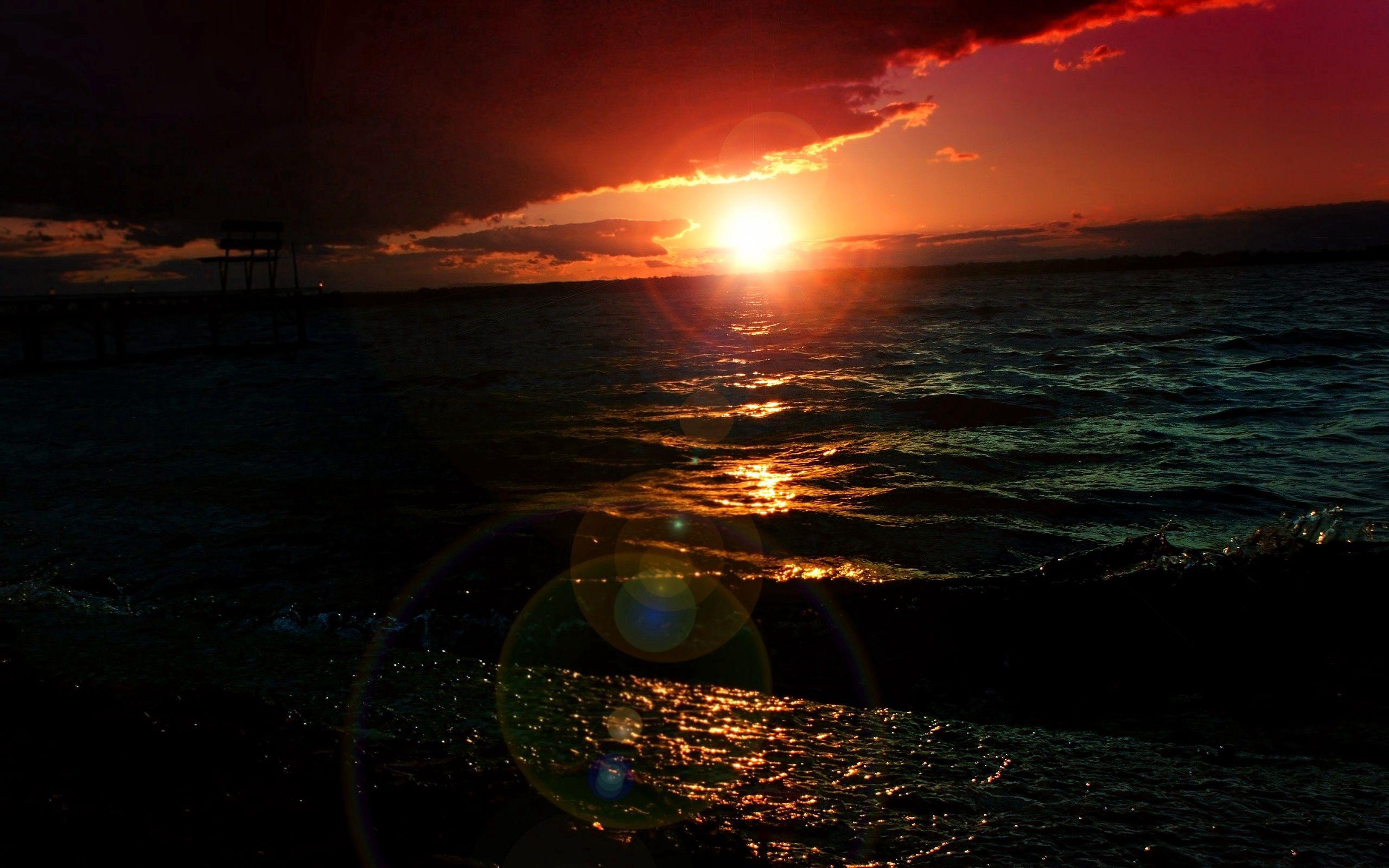 60588 скачать обои Волны, Ночь, Закат, Море, Темные, Красиво - заставки и картинки бесплатно