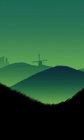 128702 Заставки и Обои Вектор на телефон. Скачать Вектор, Холмы, Пейзажи, Минимализм, Вечер, Небо, Красота картинки бесплатно