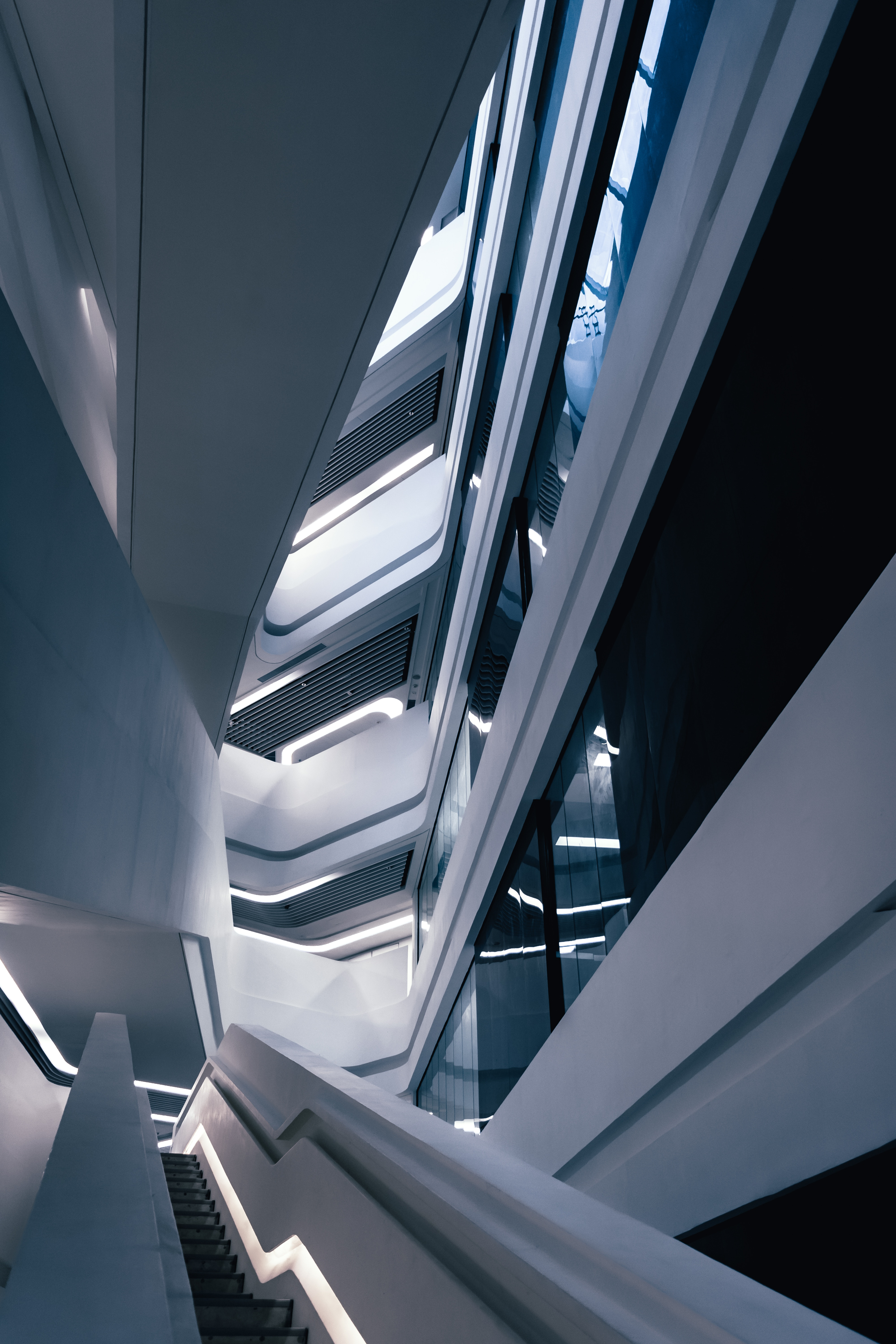 112146 download wallpaper Architecture, Building, Minimalism, Design, Stairs, Ladder screensavers and pictures for free