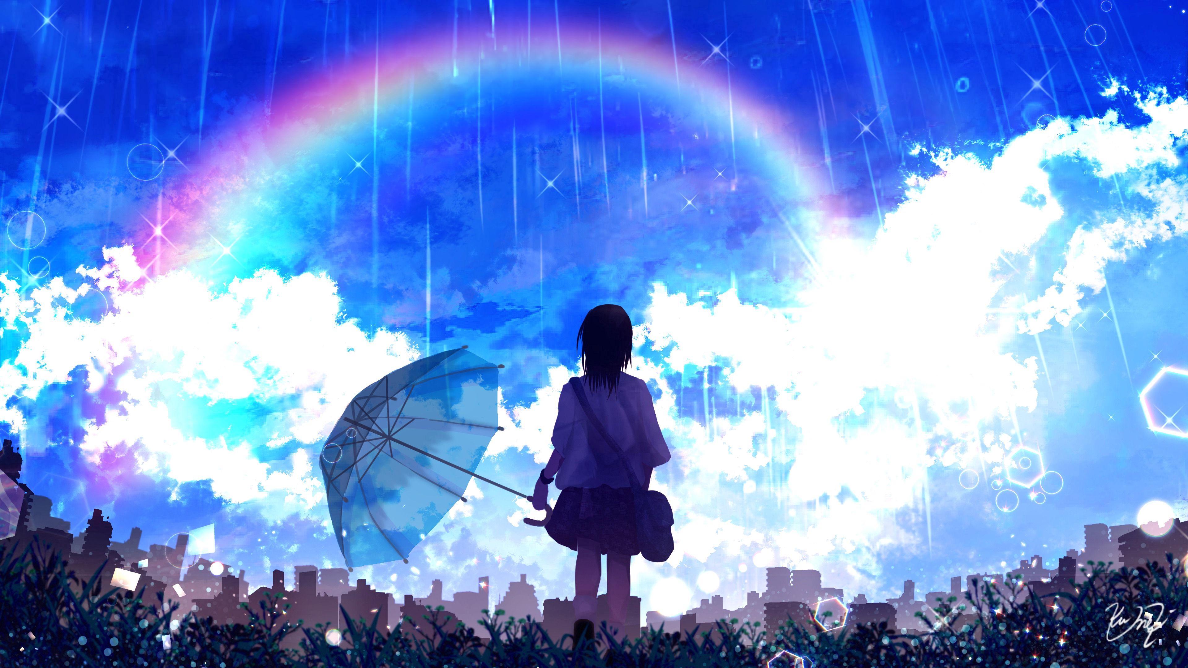 91093壁紙のダウンロードシルエット, 傘, レインボー, 雨, アート-スクリーンセーバーと写真を無料で