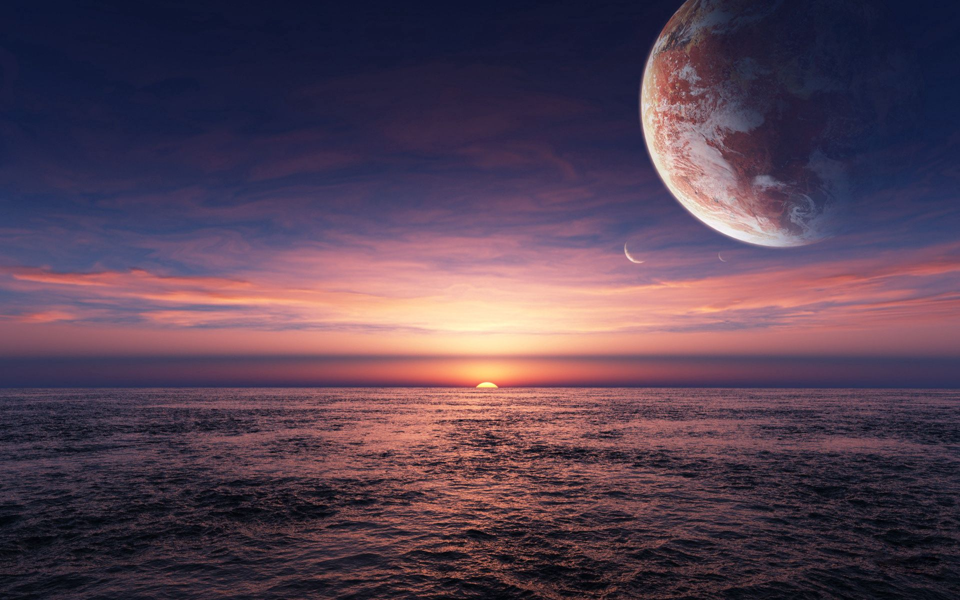 108210 download wallpaper Nature, Sunset, Sea, Sun, Planets screensavers and pictures for free