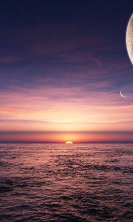 108210 Заставки и Обои Солнце на телефон. Скачать Природа, Закат, Море, Солнце, Планеты картинки бесплатно