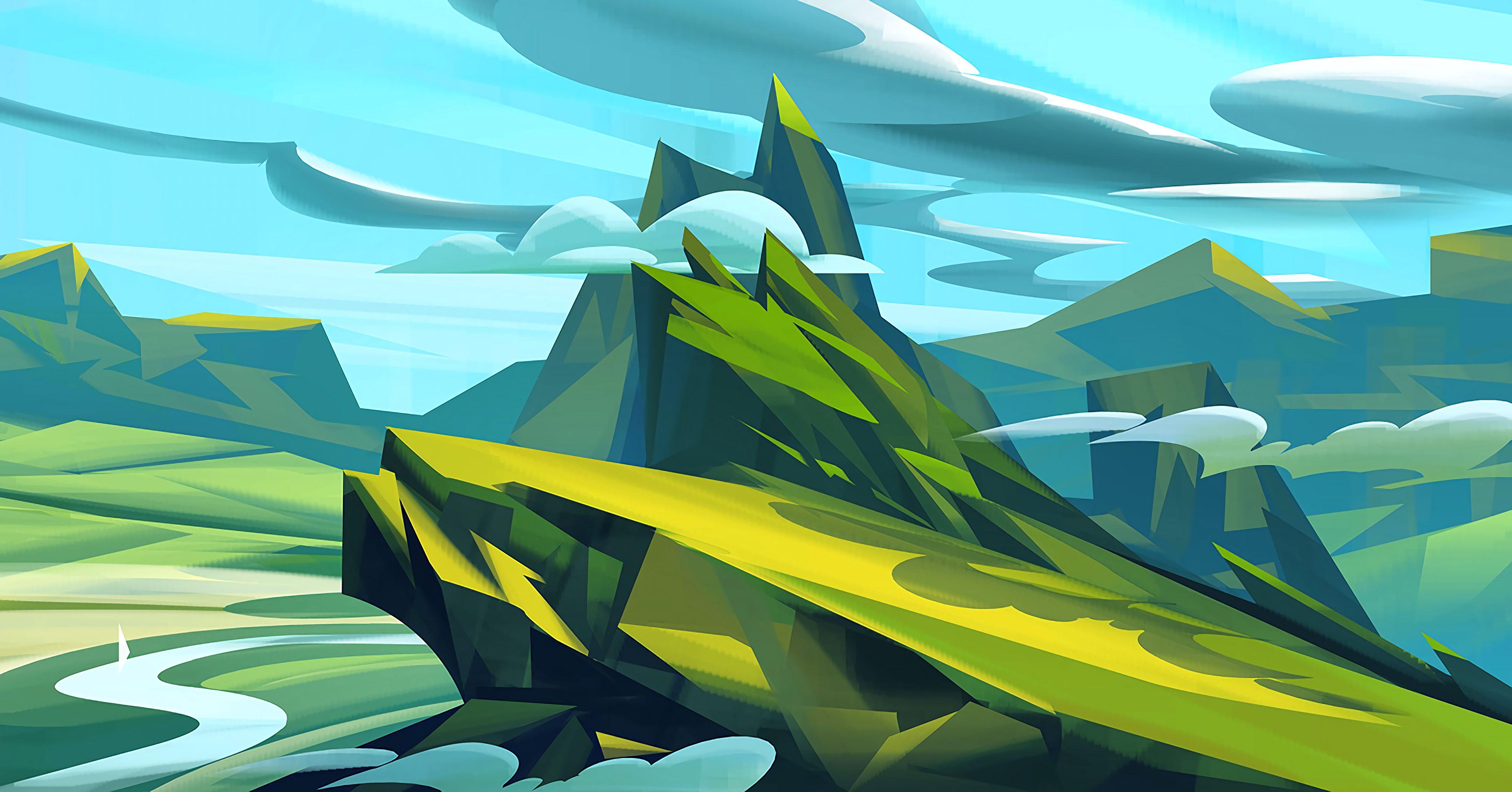 84915 Protetores de tela e papéis de parede Montanhas em seu telefone. Baixe Paisagem, Arte, Montanhas, Nuvens fotos gratuitamente