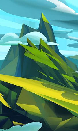 84915 скачать обои Арт, Облака, Зеленый, Голубой, Горы, Пейзаж - заставки и картинки бесплатно